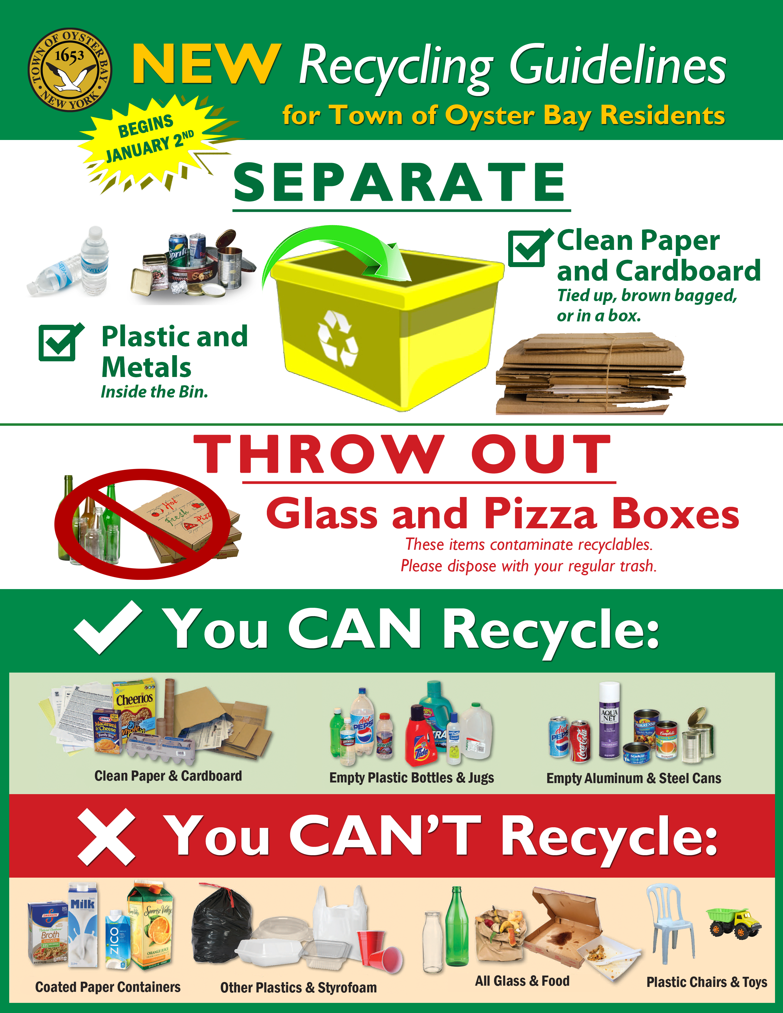 Recycling Information (S.o.r.t.) – Town Of Oyster Bay within Town Of Oyster Bay Calander