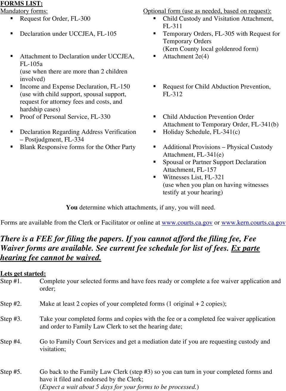 Request For Order (Sample Packet) – Pdf Free Download With Regard To Kern County Family Court Calendar