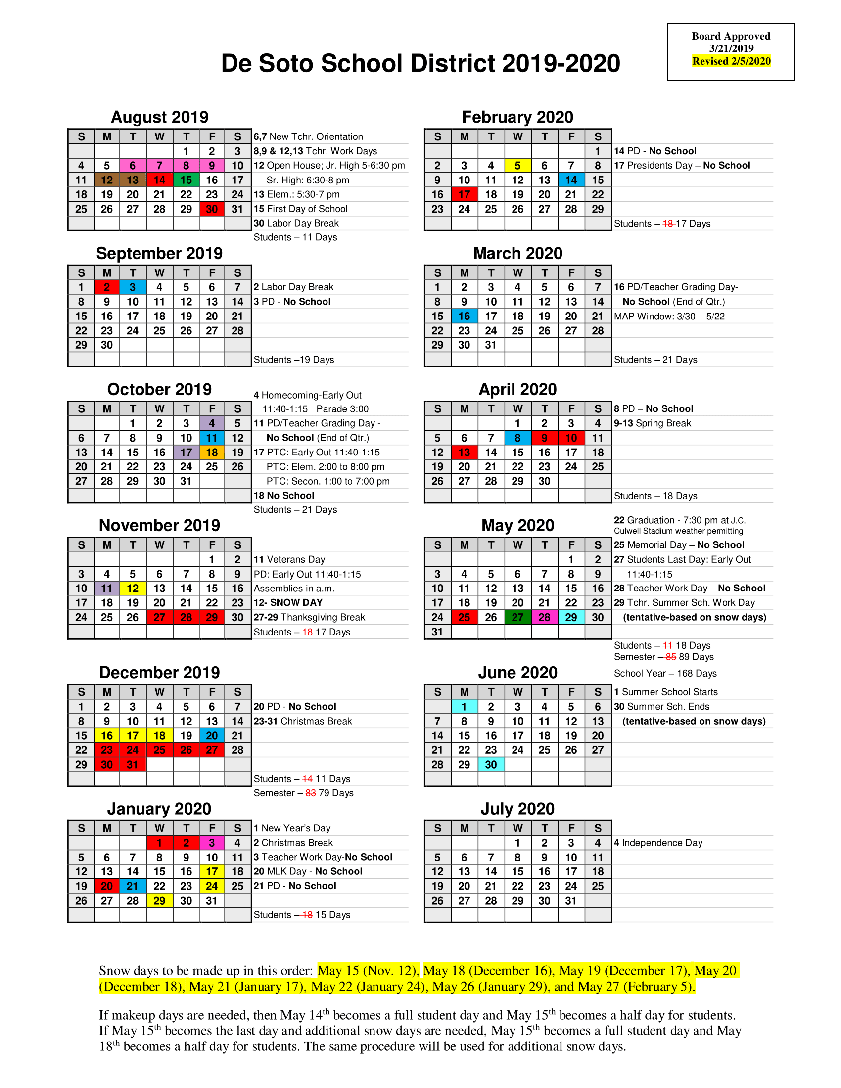 Revised 2019 2020 School Calendar – De Soto Public School For Webster Groves School District Calendar