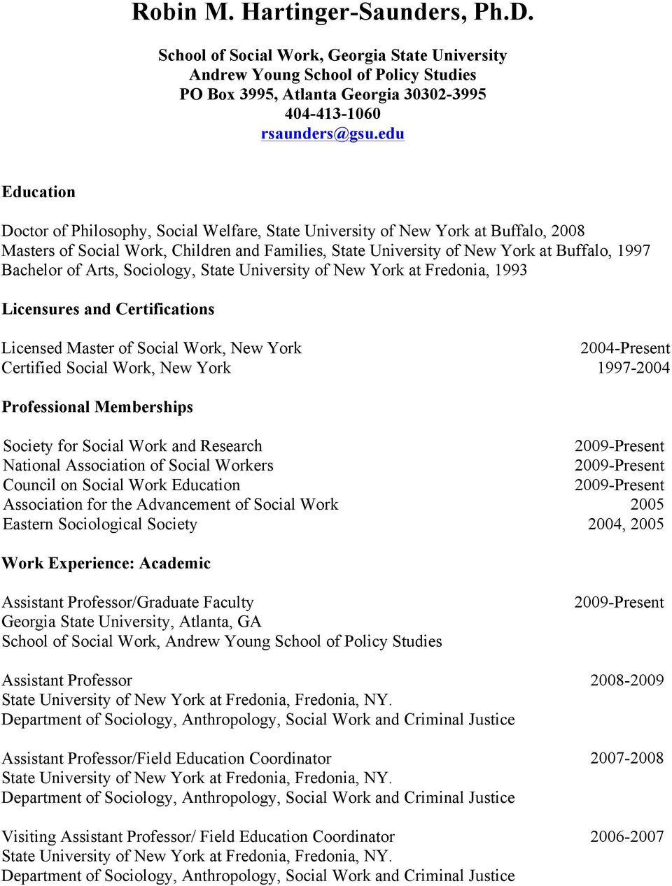 Robin M. Hartinger Saunders, Ph.d. - Pdf Free Download Pertaining To Georgia State University Semester Start Date 2004 - 2005