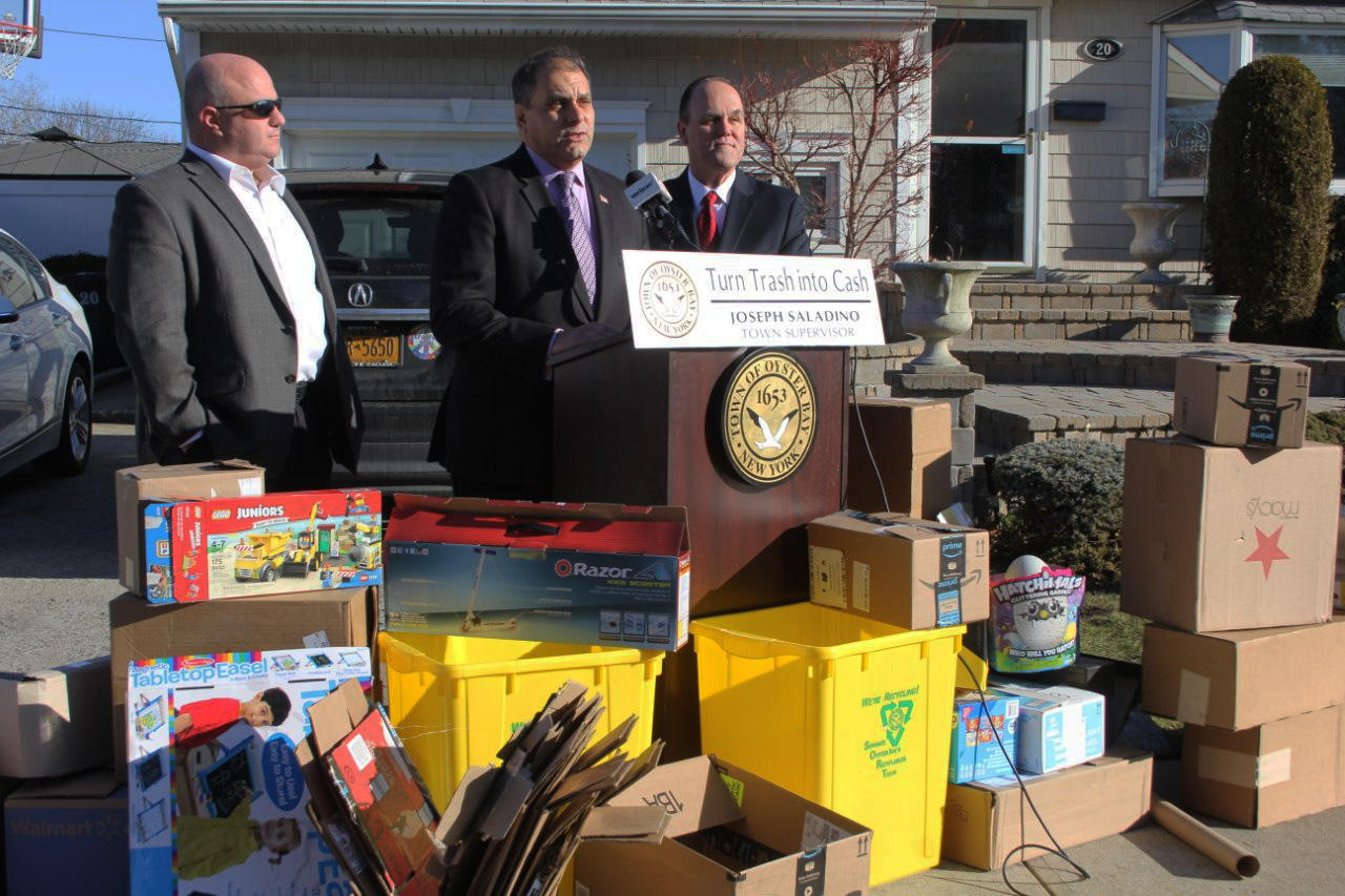 Saladino & Hand Remind Residents To Turn Trash Into Cash In Town Oyster Bay Sanitation Calendar