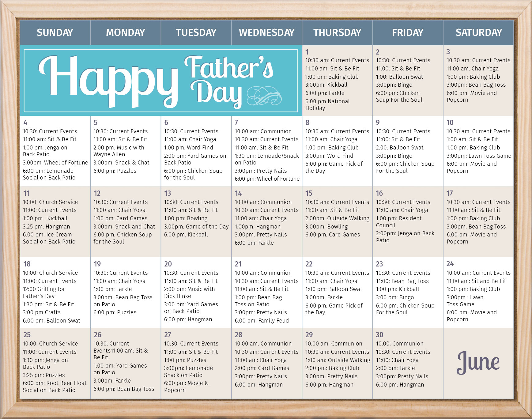 Sample Events Calendar - Our House Senior Living Pertaining To Assisted Living Activity Calendar Format