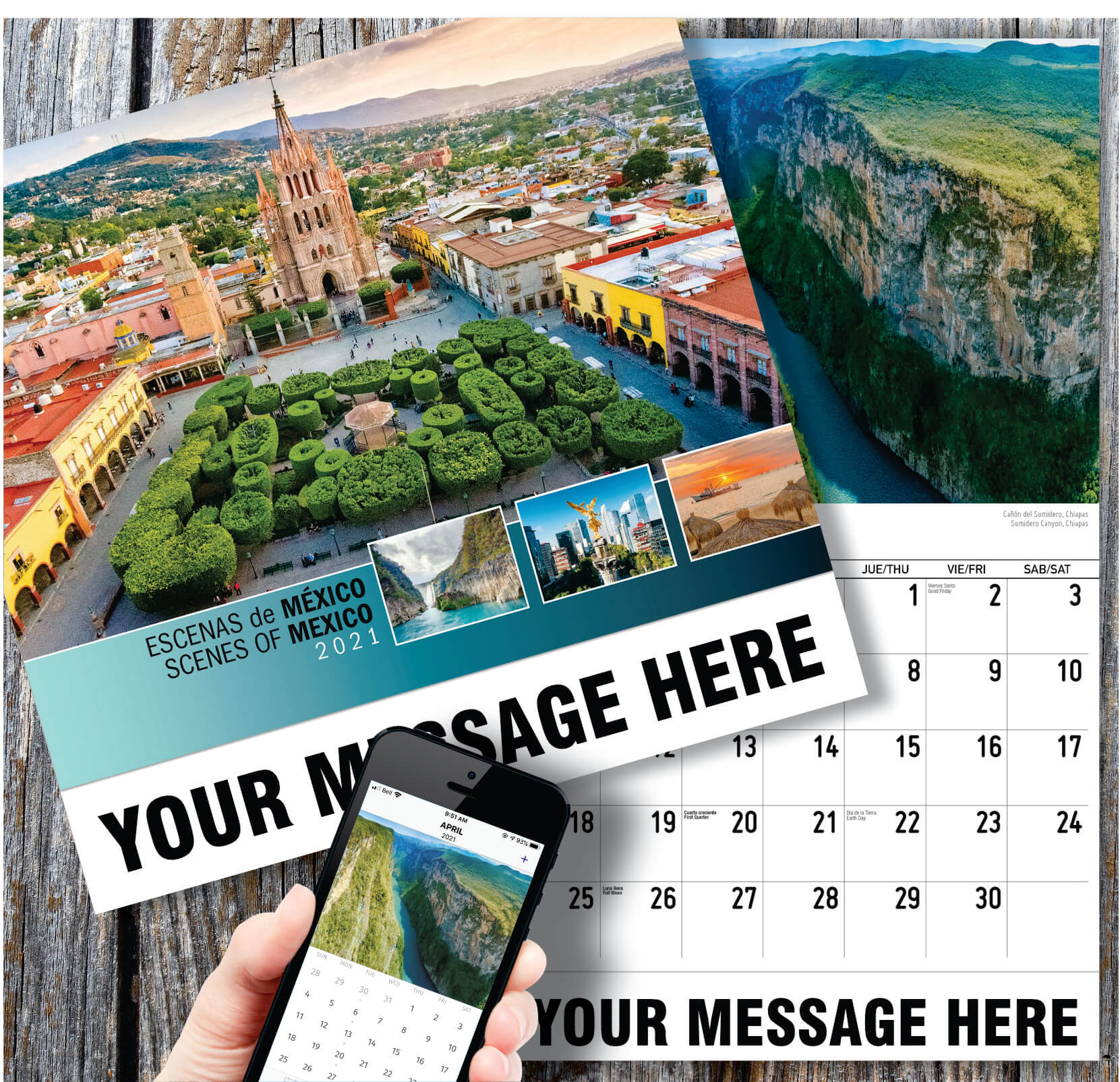 Scenes Of Mexico (Spanish English Bilingual) For Mexican Calendar 2021 With St Names