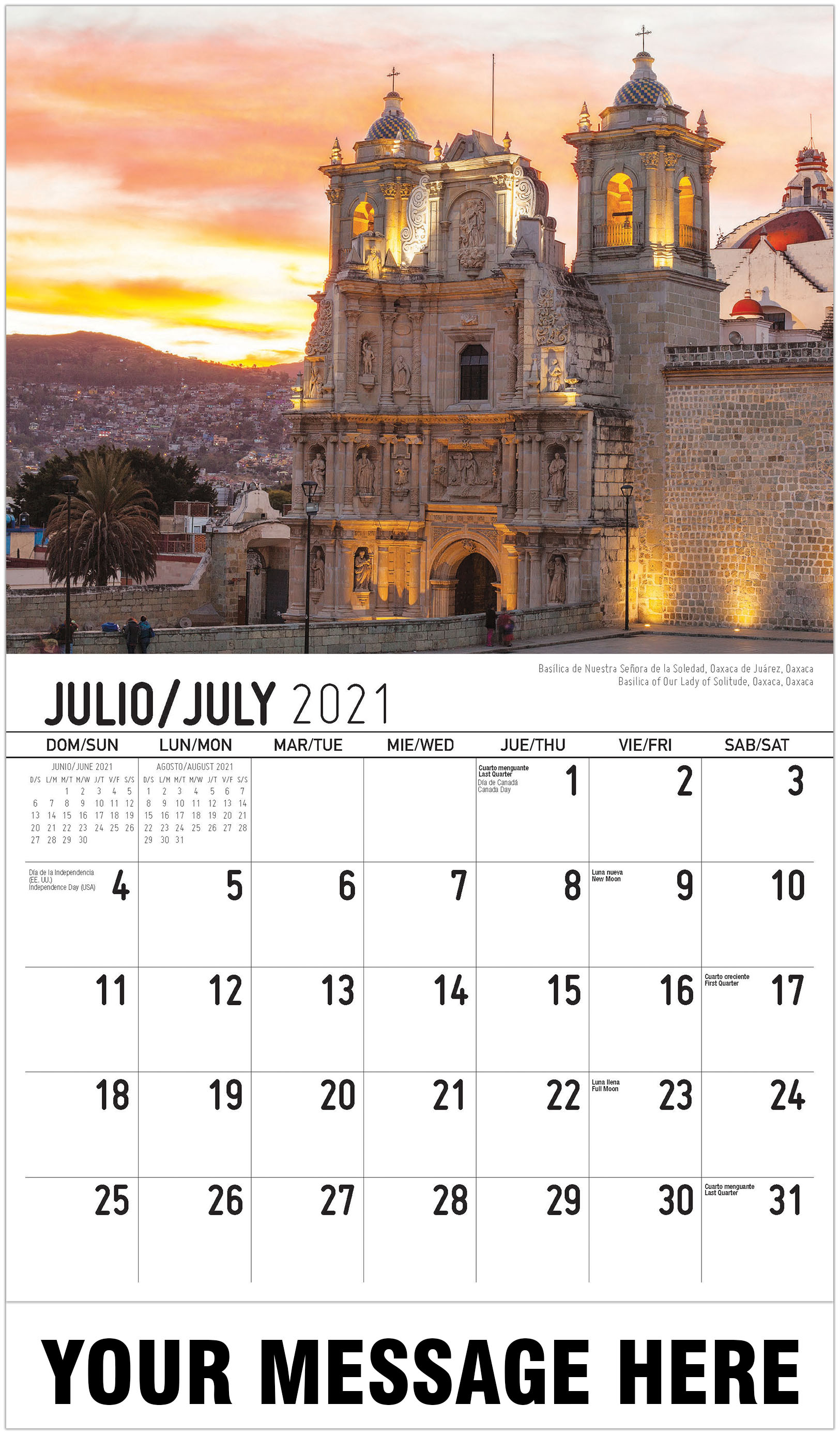 Scenes Of Mexico (Spanish English Bilingual) In Mexican Calendar 2021 With St Names