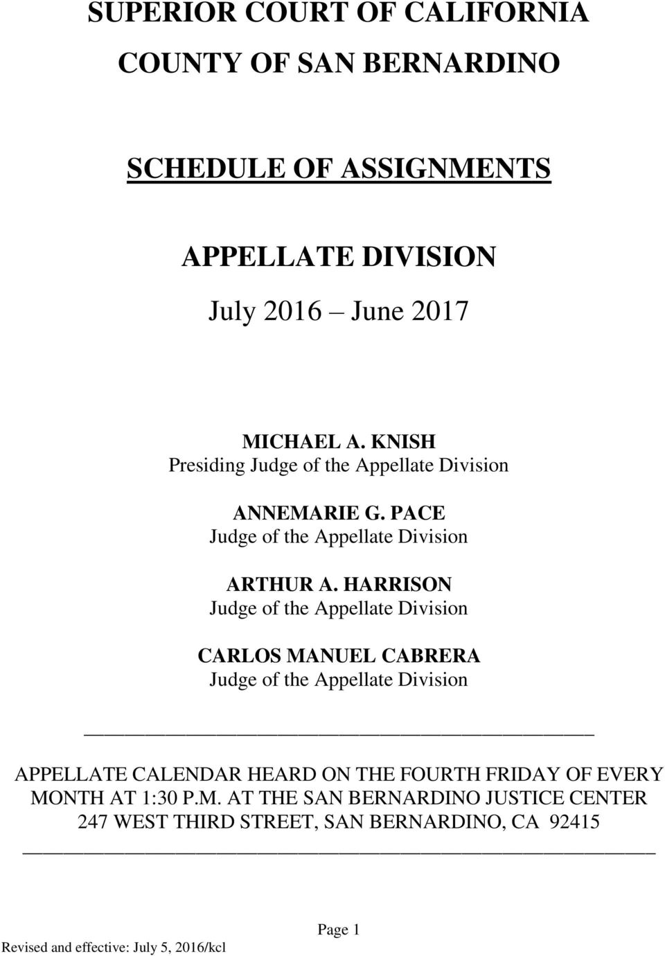Schedule Of Assignments - Pdf Free Download With Regard To Court Calender Of San Bernardino Ca
