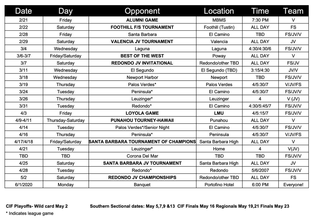 Schedule & Results In Mira Costa High School Calendar 2020