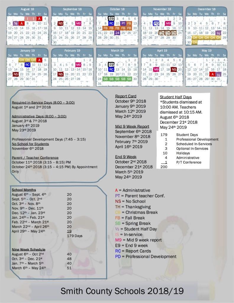 School Board Approves 2018/2019 School Calendar   Smith Throughout Davidson County Tn School 2021 - 2020 Calendar