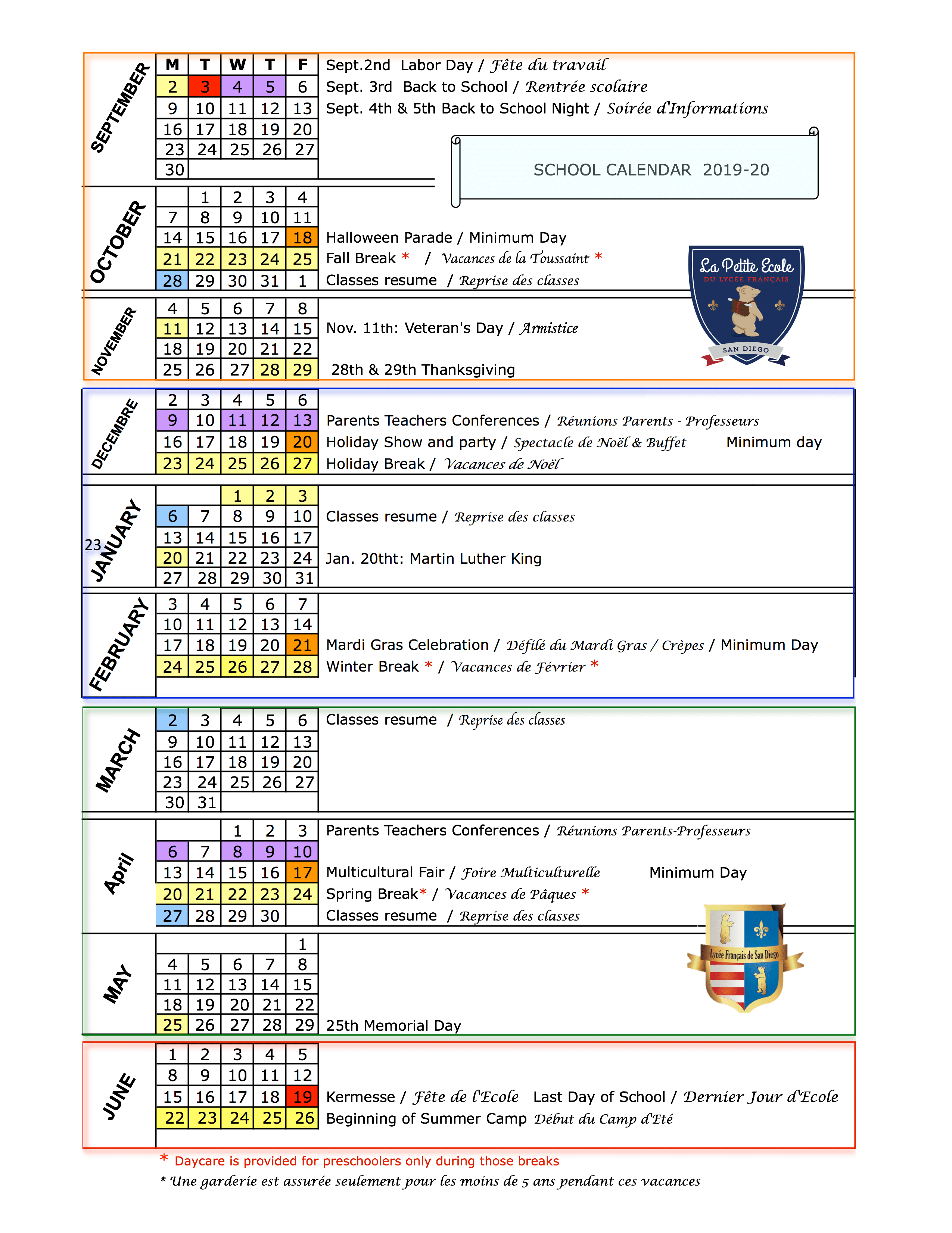 School Calendar 2019 20 & 2020 21   Le Lycée Français De San Throughout San Diego School Calendar 2021