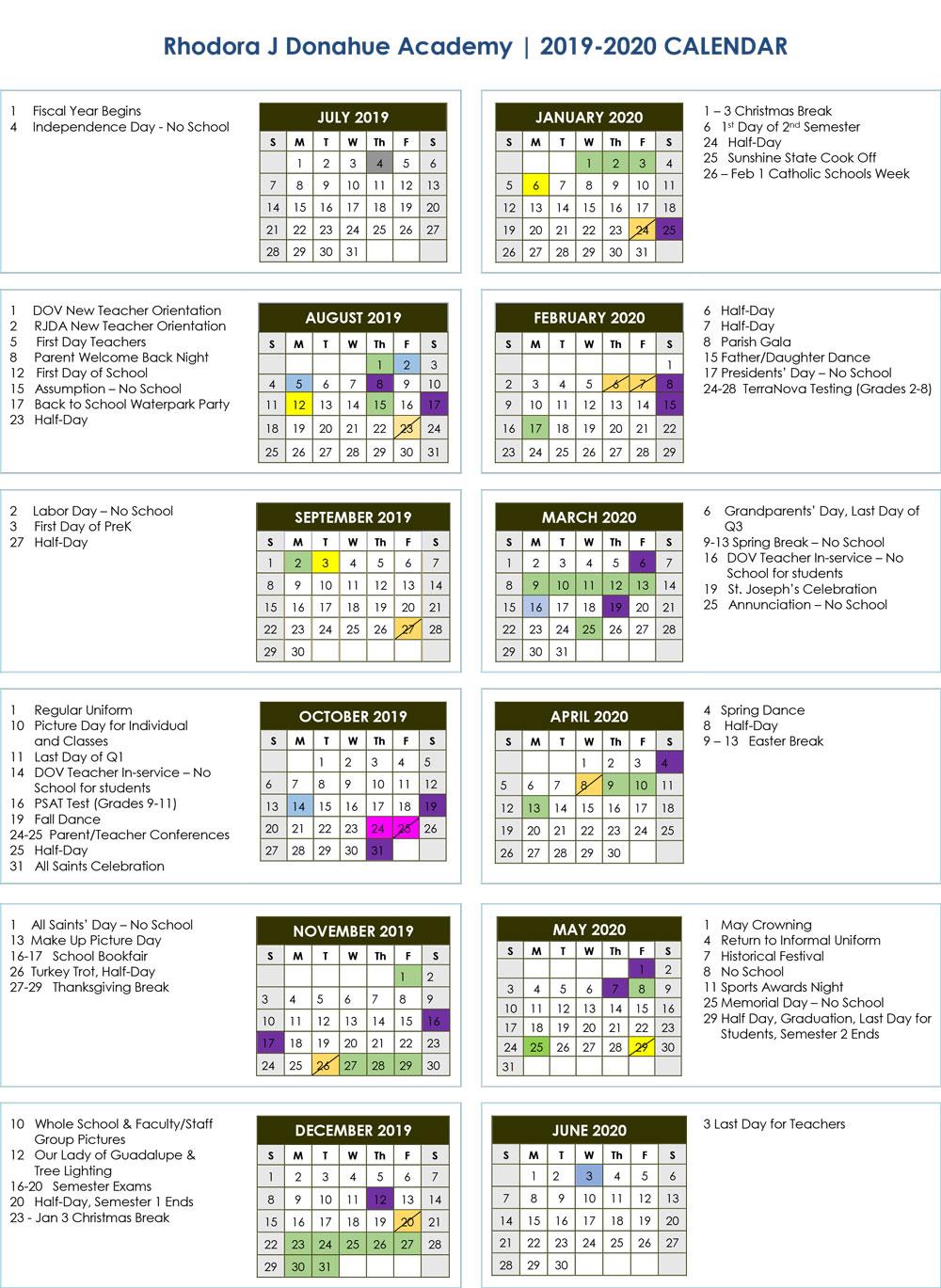 School Calendar 2019 2020 | Donahue Academy With Regard To Calendar For Naples Florida