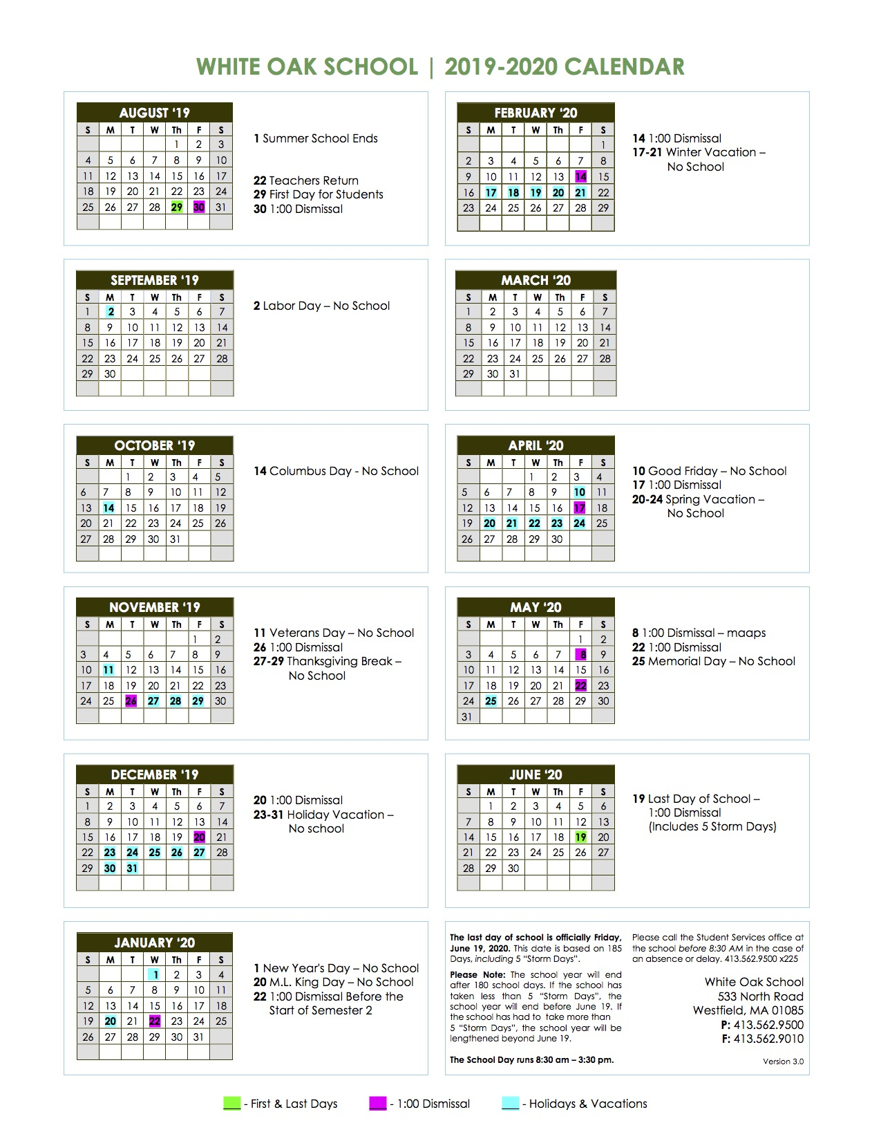 School Calendar 2019 – 2020 – White Oak School In East Hartford School Calendar 2021 2021