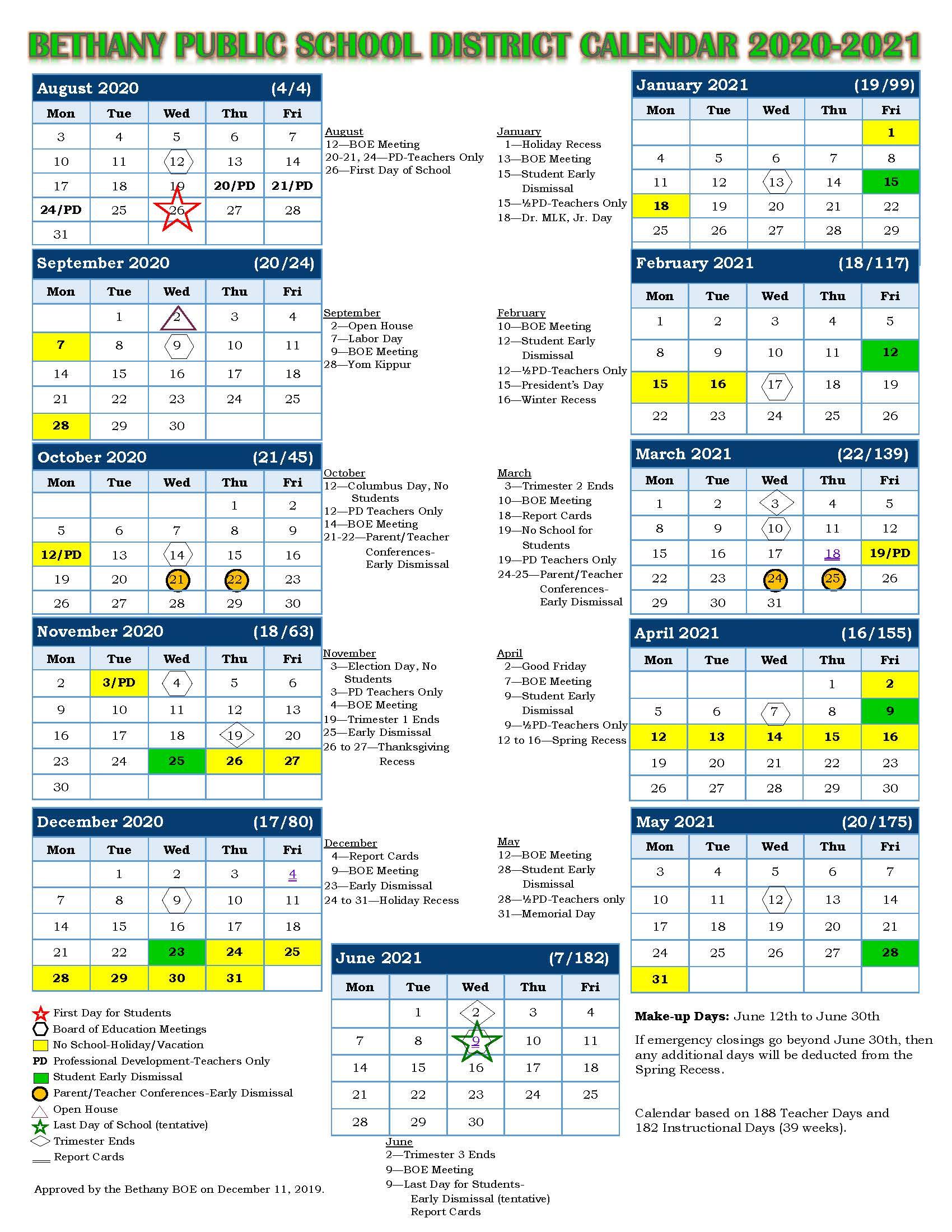 School Calendar – Bethany Public Schools With Rye Country Day School Calendar 2021