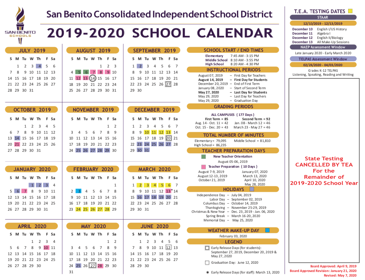 School Calendar – District – San Benito Consolidated With Brownsville Texas Bisd Calendar 2021 2020