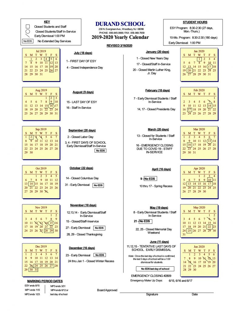 School Calendar – Durand, Inc. Regarding College Of Staten Island Spring 2021 Calendar
