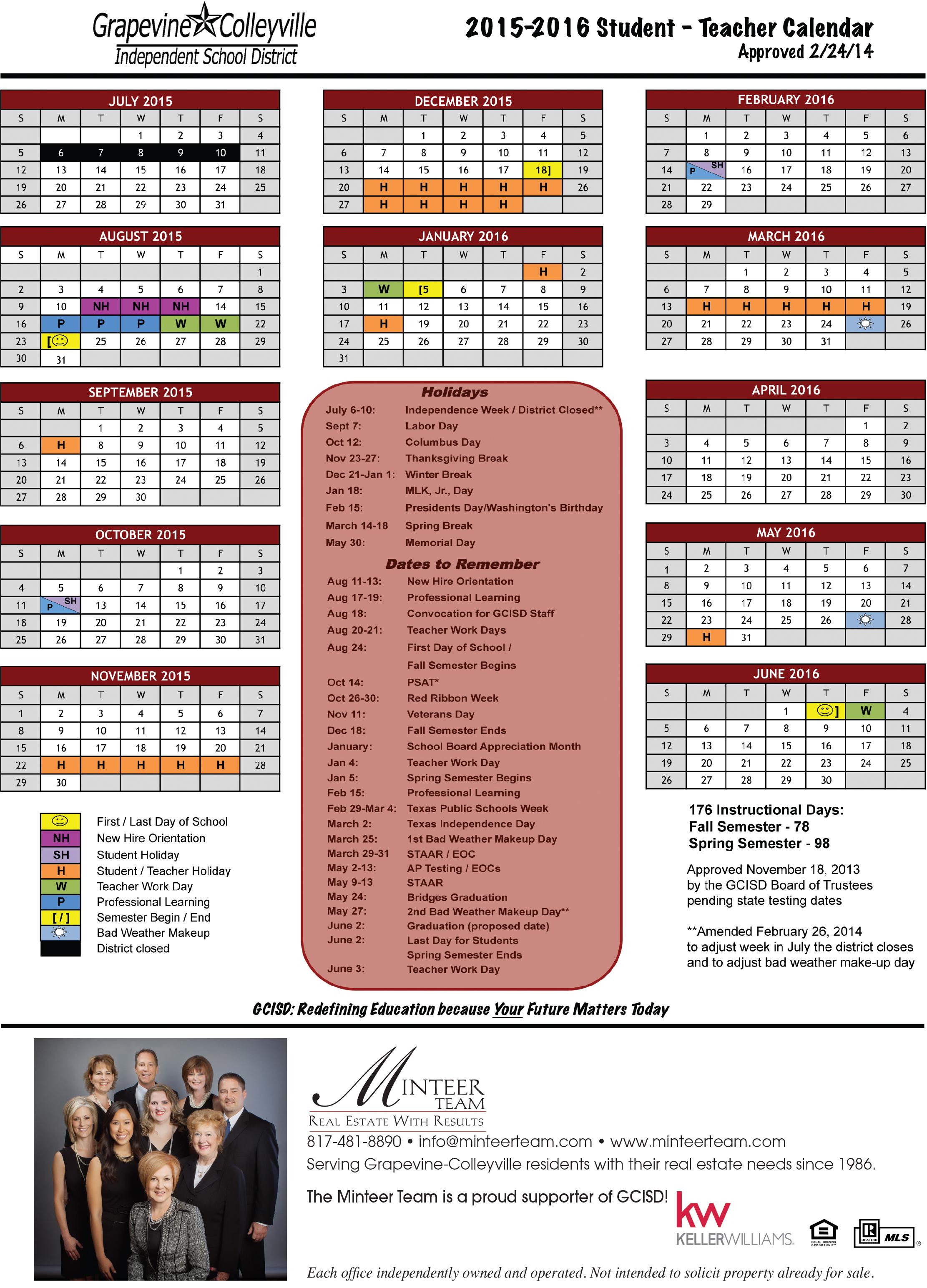 School Calendar For Gcisd (2015 2016) – Minteer Real Estate Team Within Fort Worth Isd Calendar