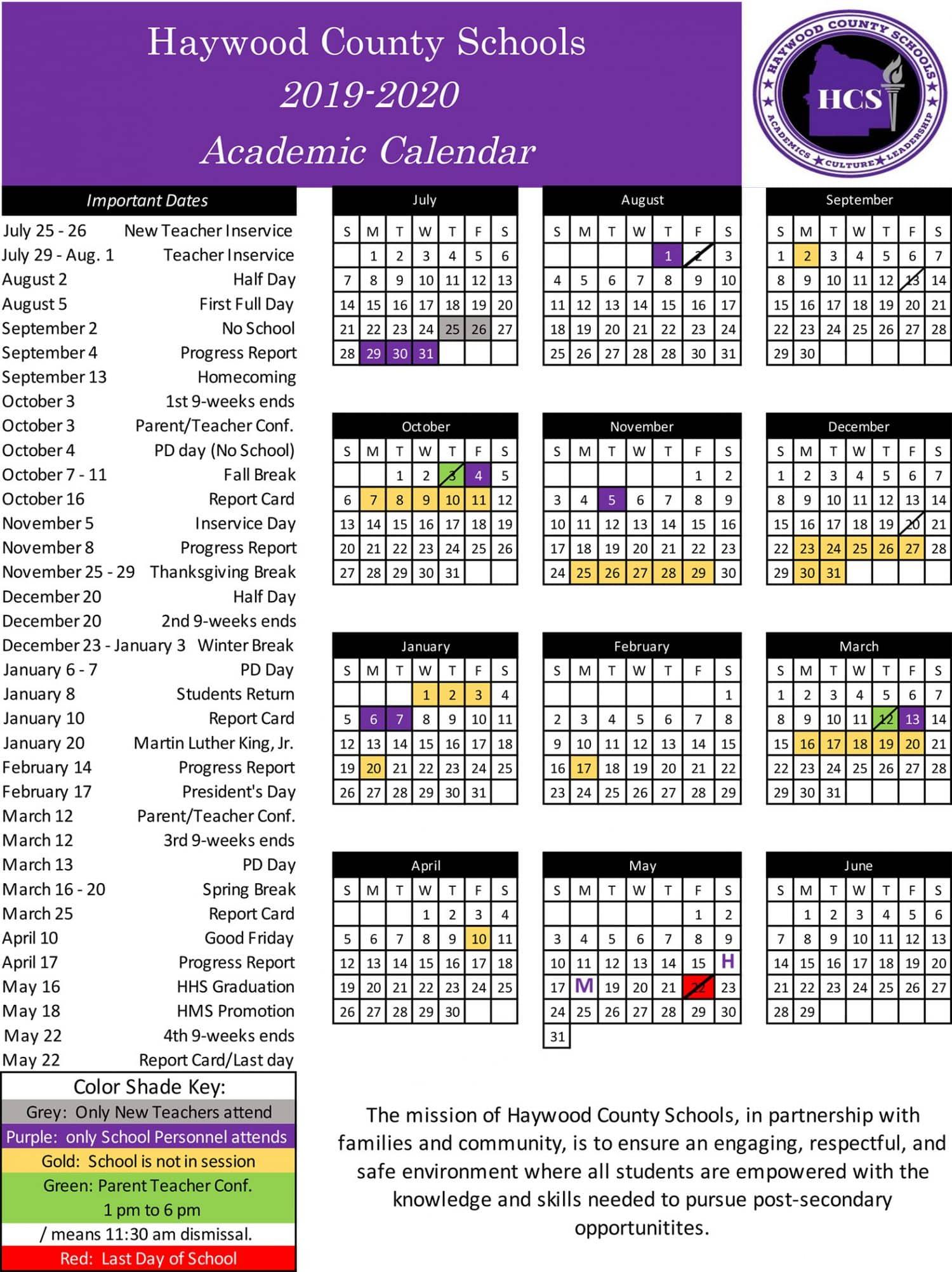 School Calendar | Haywood County Schools In Brownsville Isd Academic Calendar
