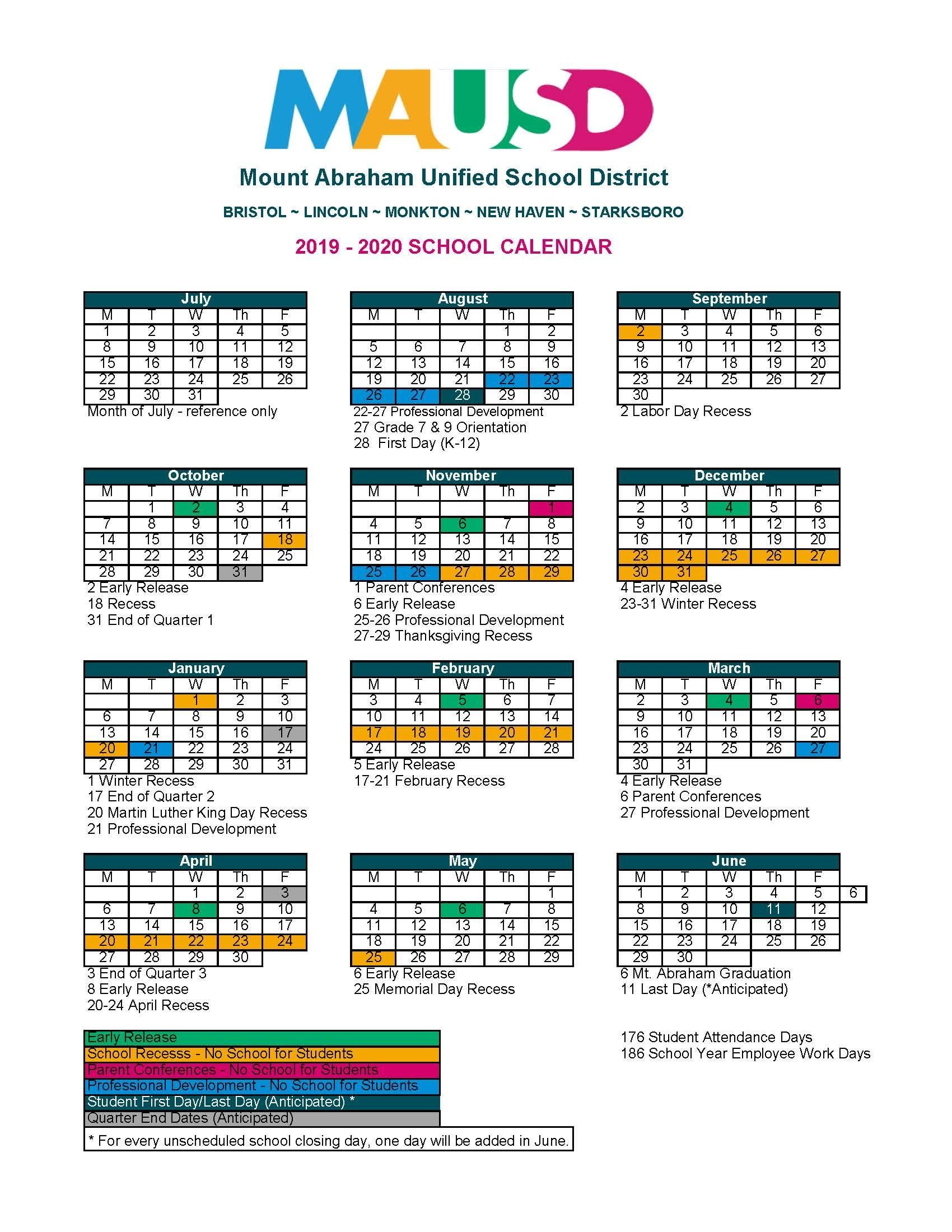 School Calendar - Mausd In Lincoln Unified School District Calendar 2021