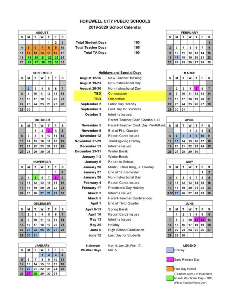 School Calendar – Our District – Hopewell City Public Schools Intended For New Jersey School Public Educatiom Calendar