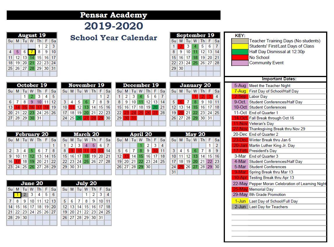 School Calendar – Pensar Academy Intended For North Canyon High School Calendar