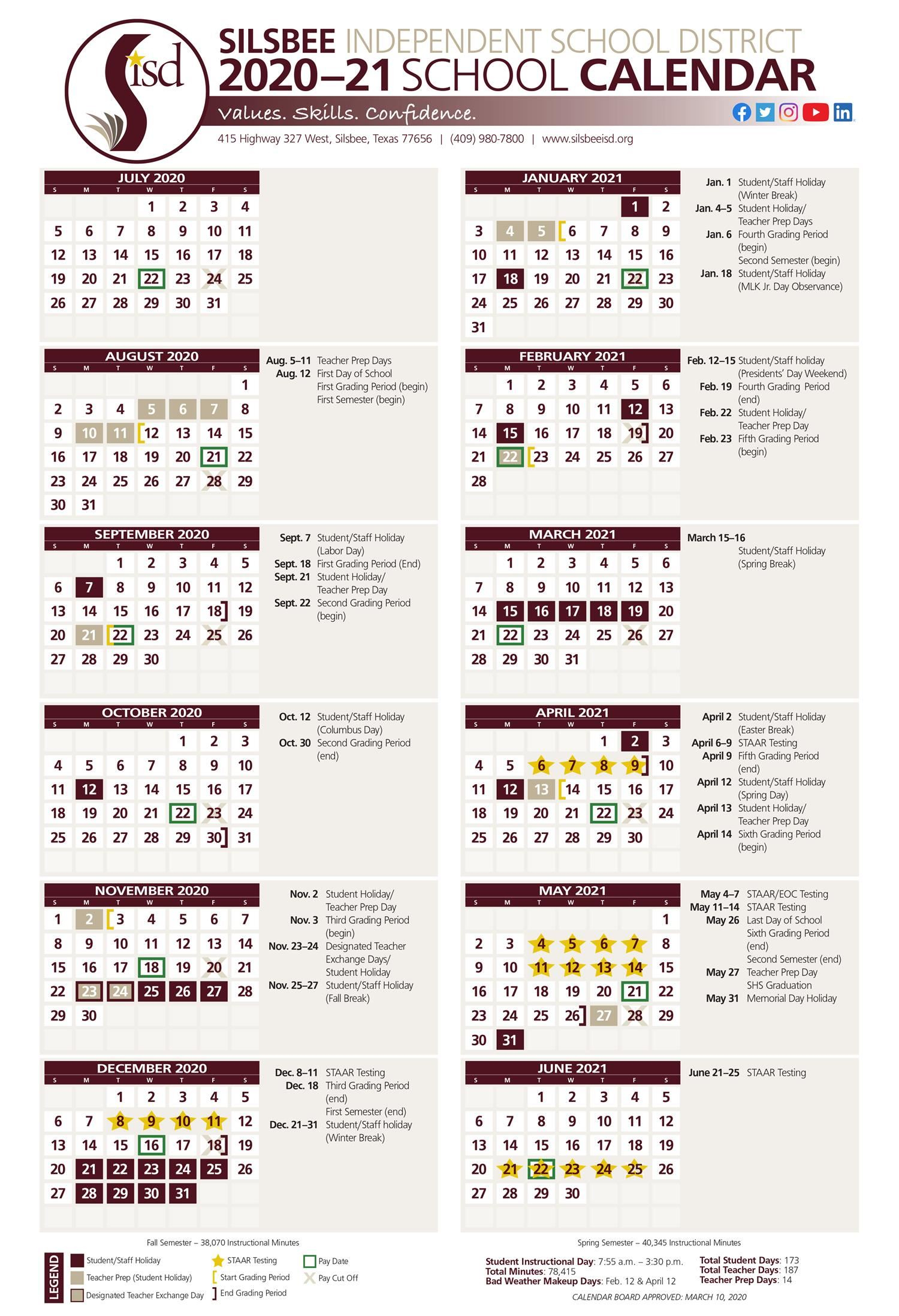 School Calendar Remains Intact As The 2020 2021 School Year Intended For Harrison School District 2 Calendar 2021