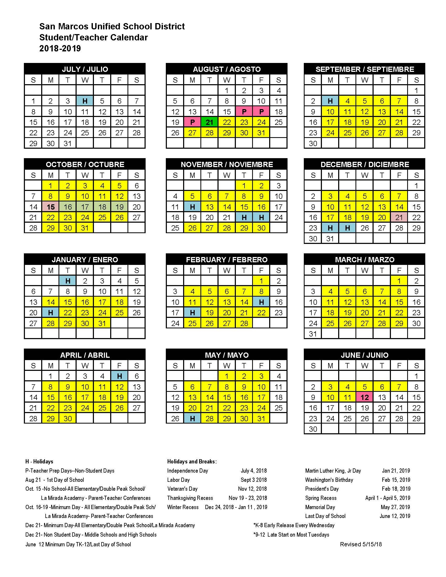 School Calendar - San Marcos High School Pertaining To San Diego School Calendar 2021