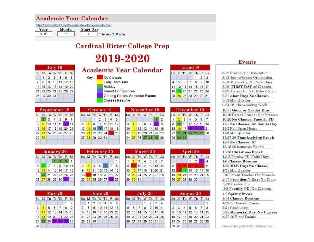 School Calendar – School Calendar – Cardinal Ritter College Prep intended for St Charles Community College Calendar
