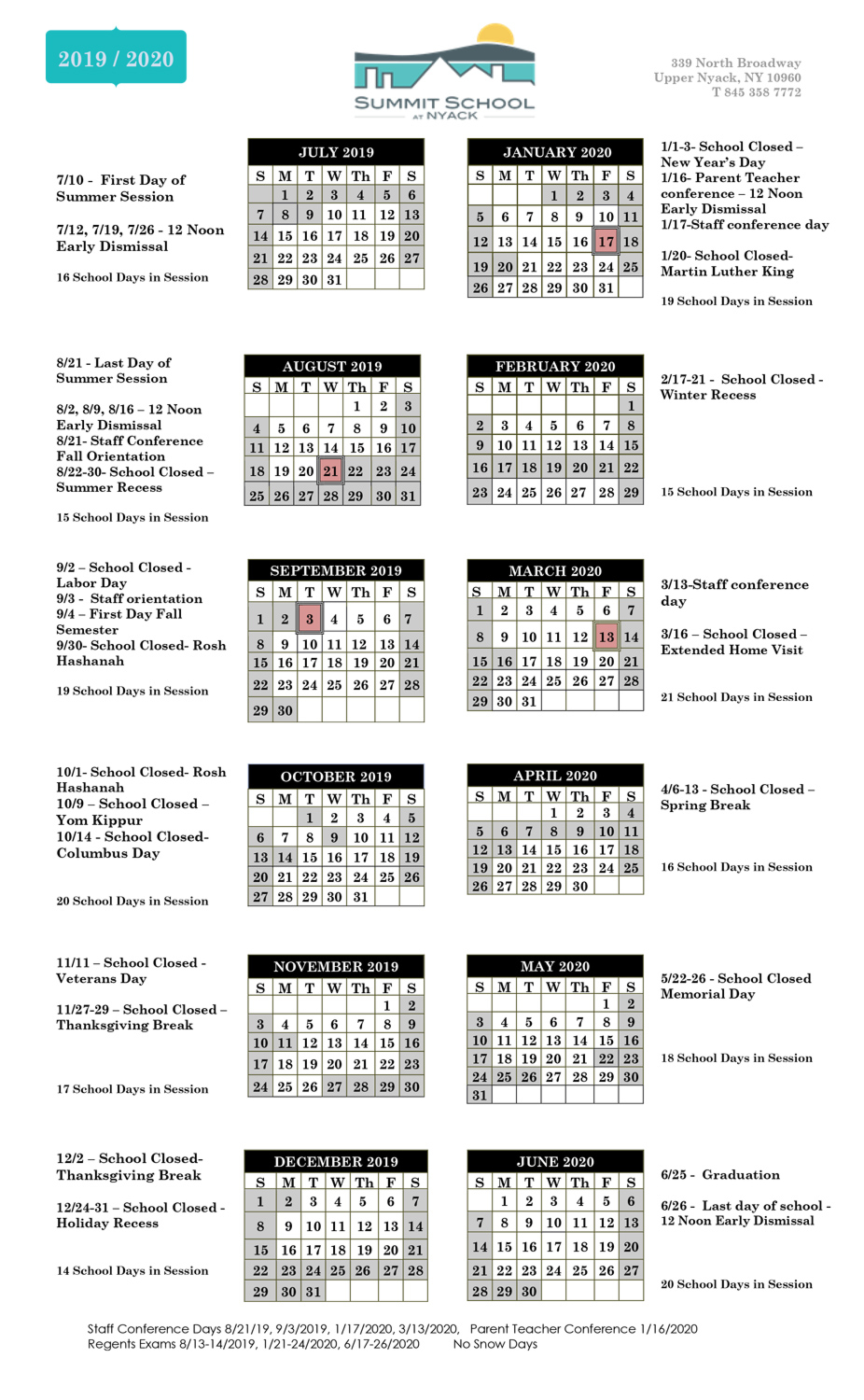 School Calendar - Summit School At Nyack Inside Academic Calender For Middlesex County College For 2021