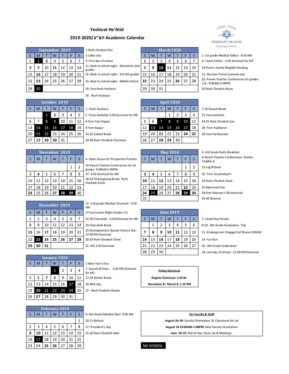 School Calendar — Yeshivat He'atid Throughout Academic Calender For Middlesex County College For 2021