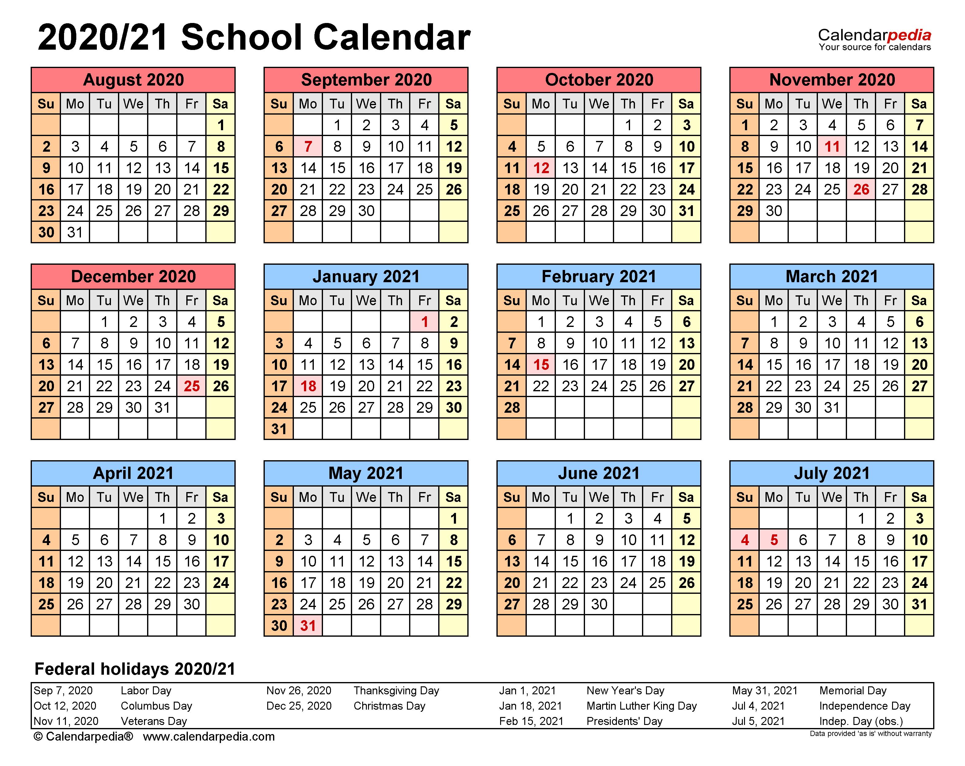 School Calendars 2020/2021 - Free Printable Word Templates inside Columbus State Calendar 2021-20