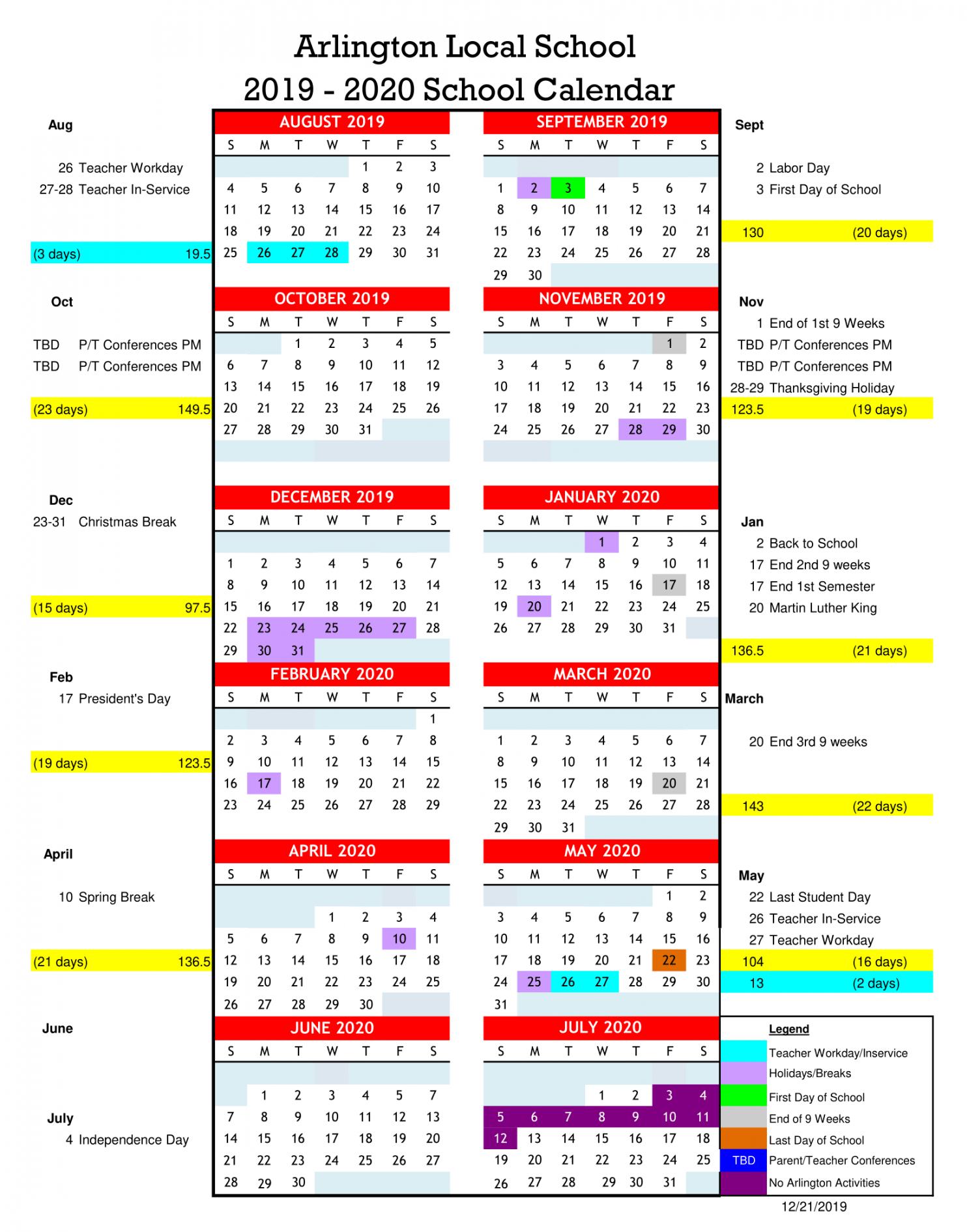 School Calendars - Arlington Local Schools With Owens Community College Calendar 2020