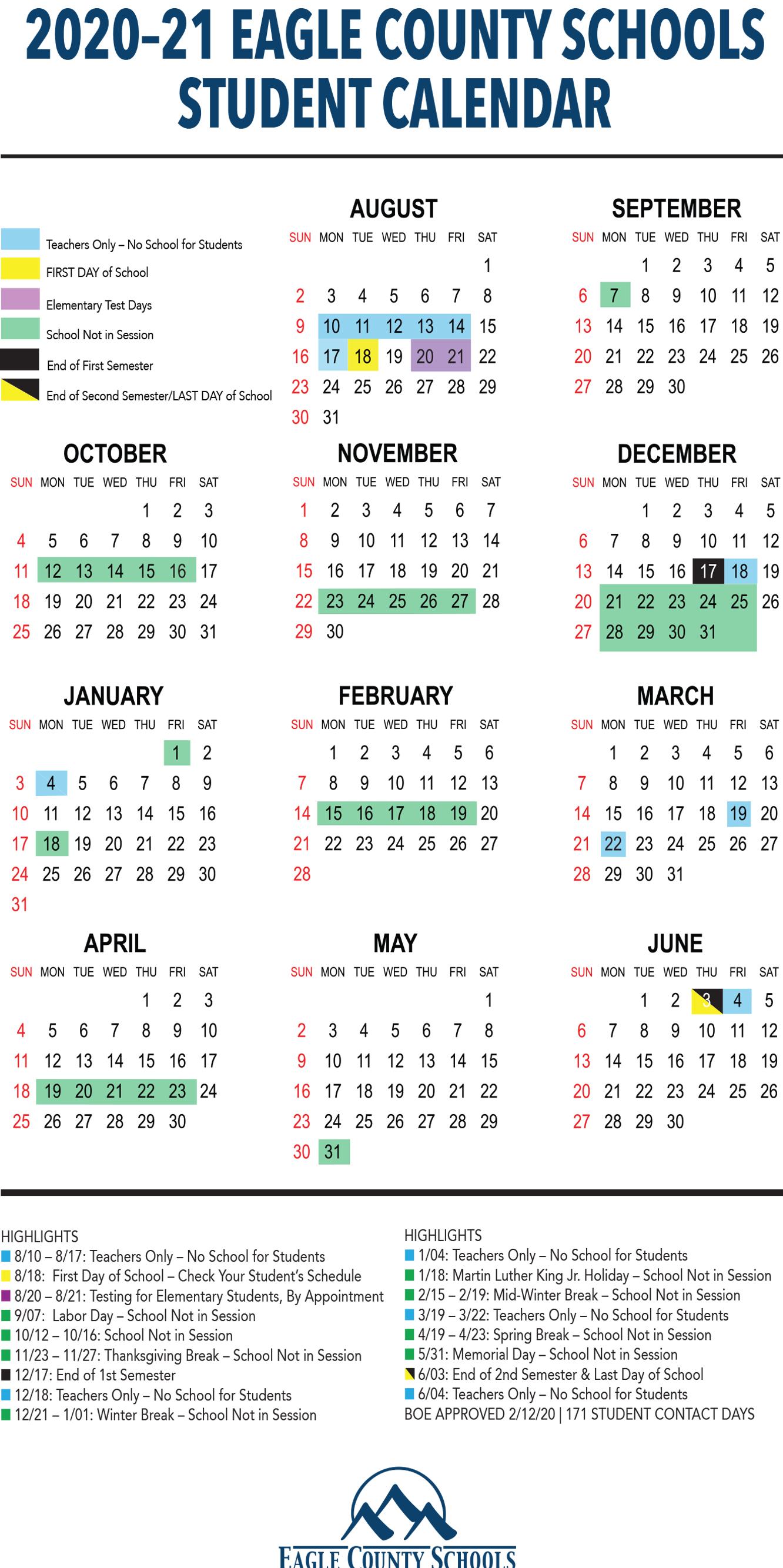 School Calendars | Eagle County Schools Inside Davidson County Tn School Calendar20