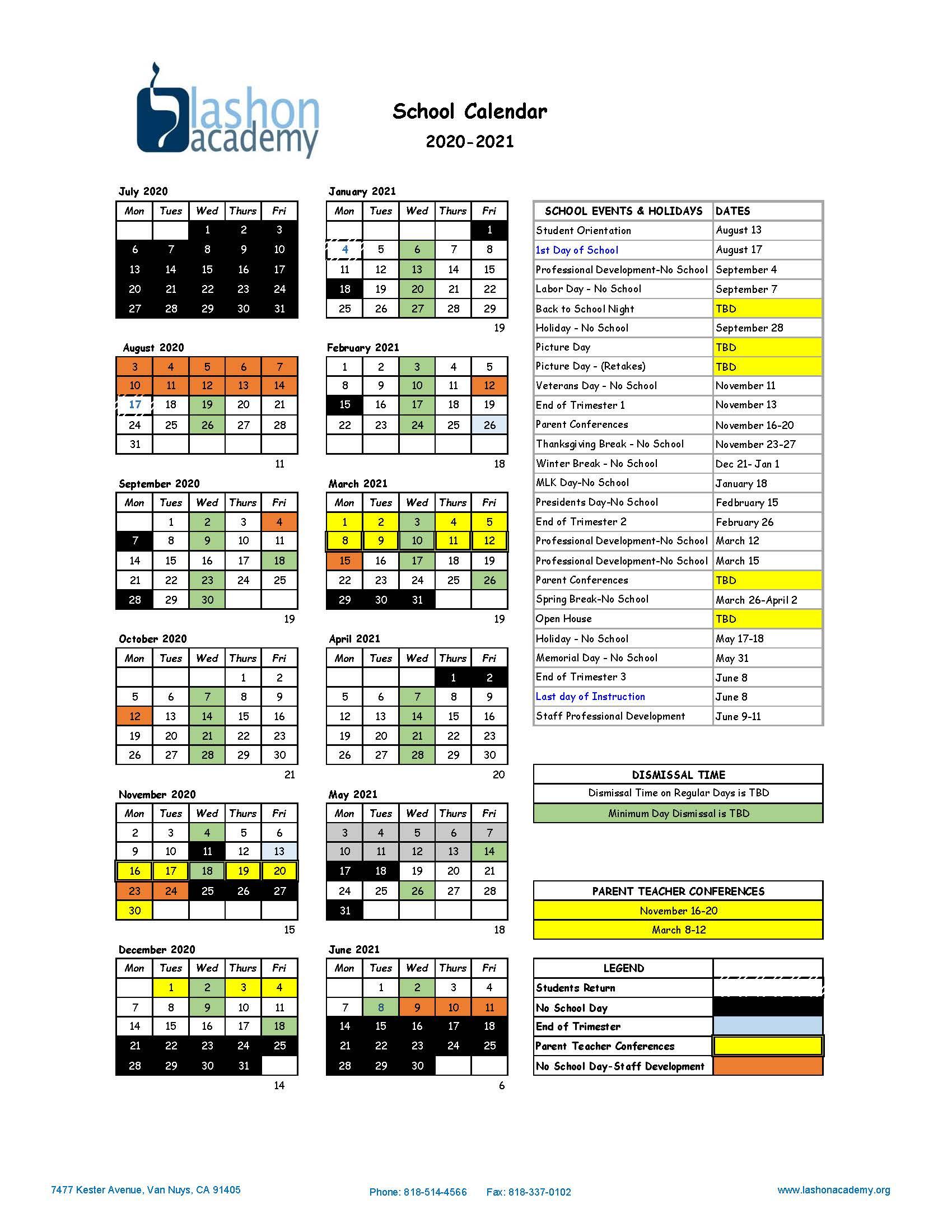 School Calendars | Lashon Academy Charter School Within University Of Southern California School Calendar 2021 2020
