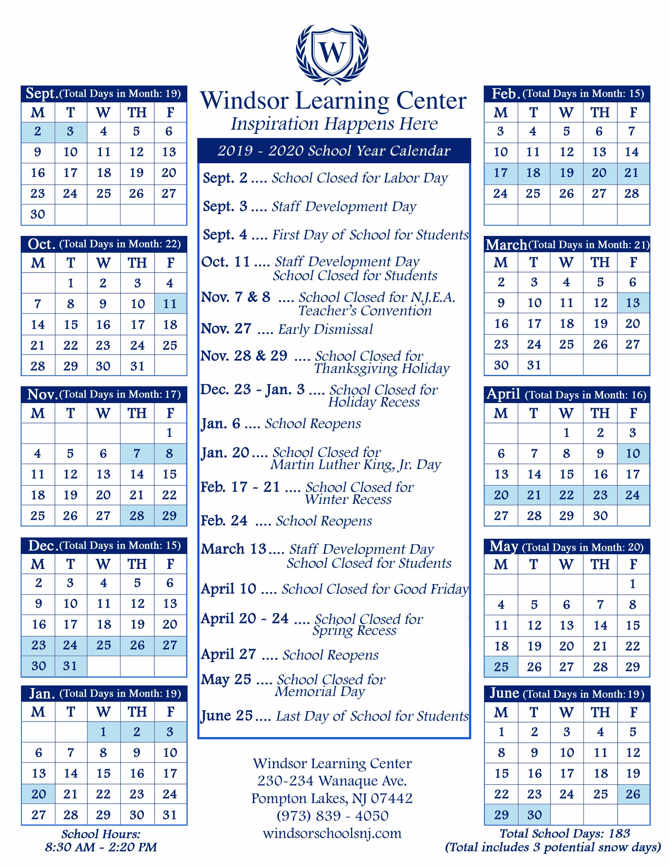 School Calendars – Windsor Schools In Rye Country Day School Calendar 2021