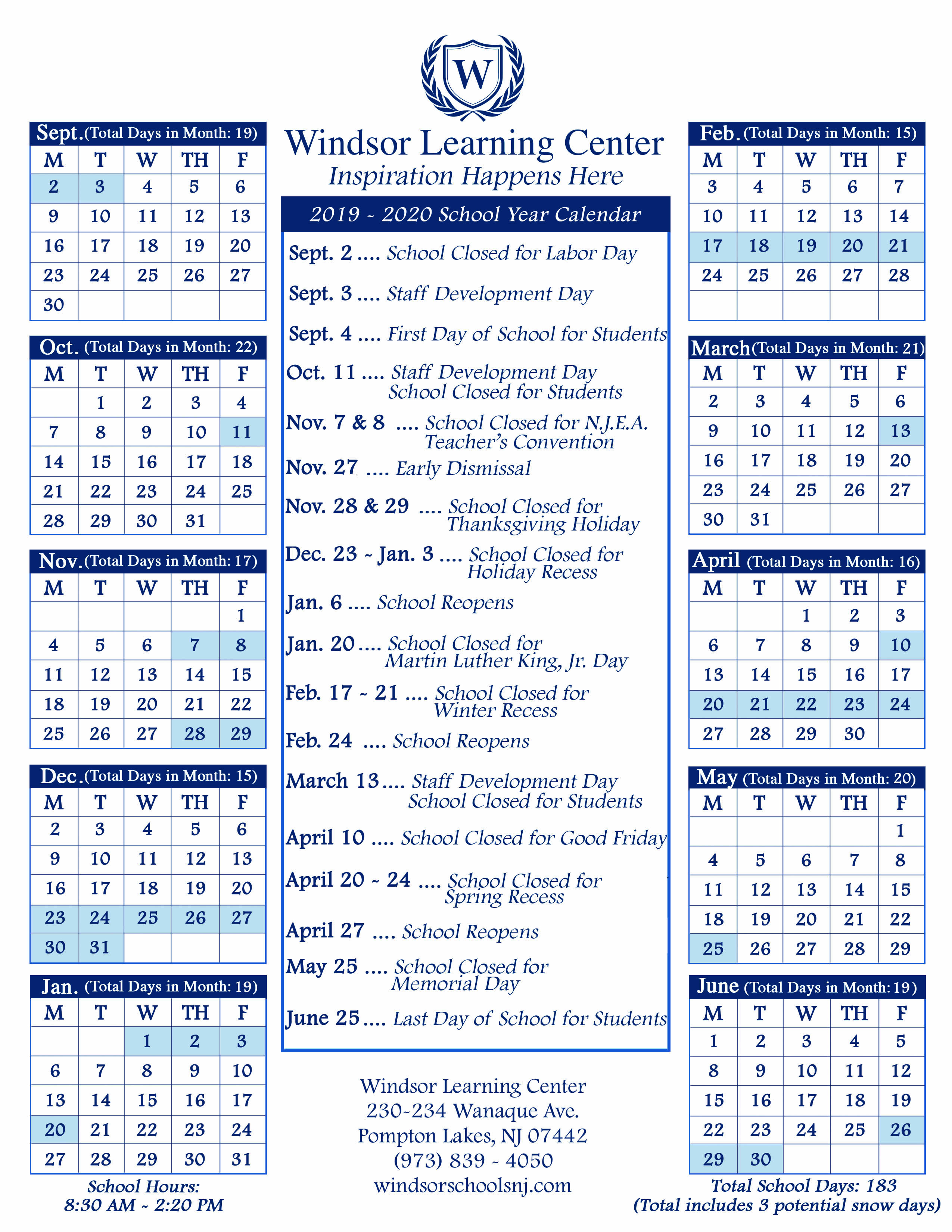 School Calendars - Windsor Schools With Academic Calender For Middlesex County College For 2021
