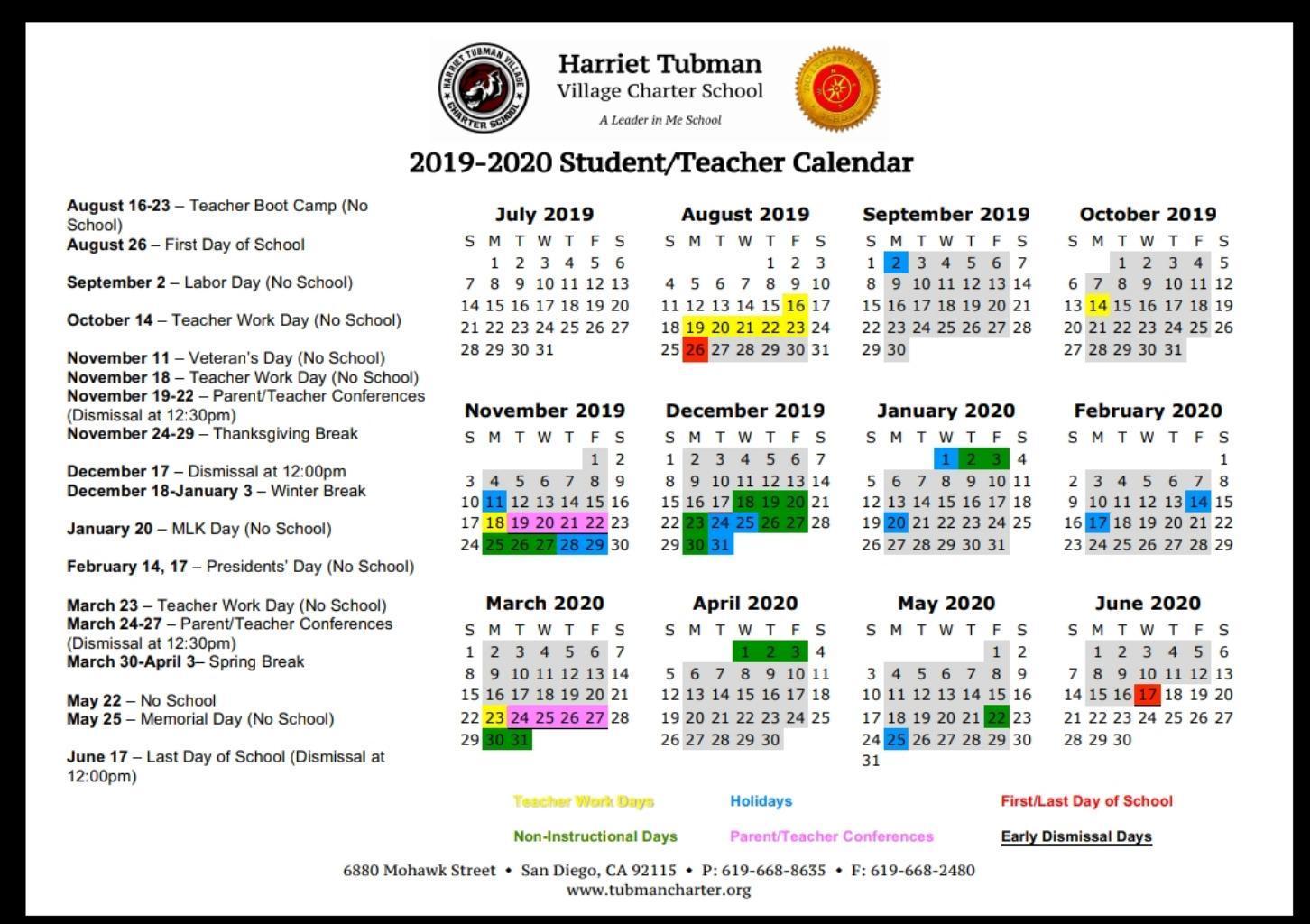 School Year Calendar 2019 20 – School Year Calendar 2019 20 Pertaining To Otay Ranch High Scool Calendar