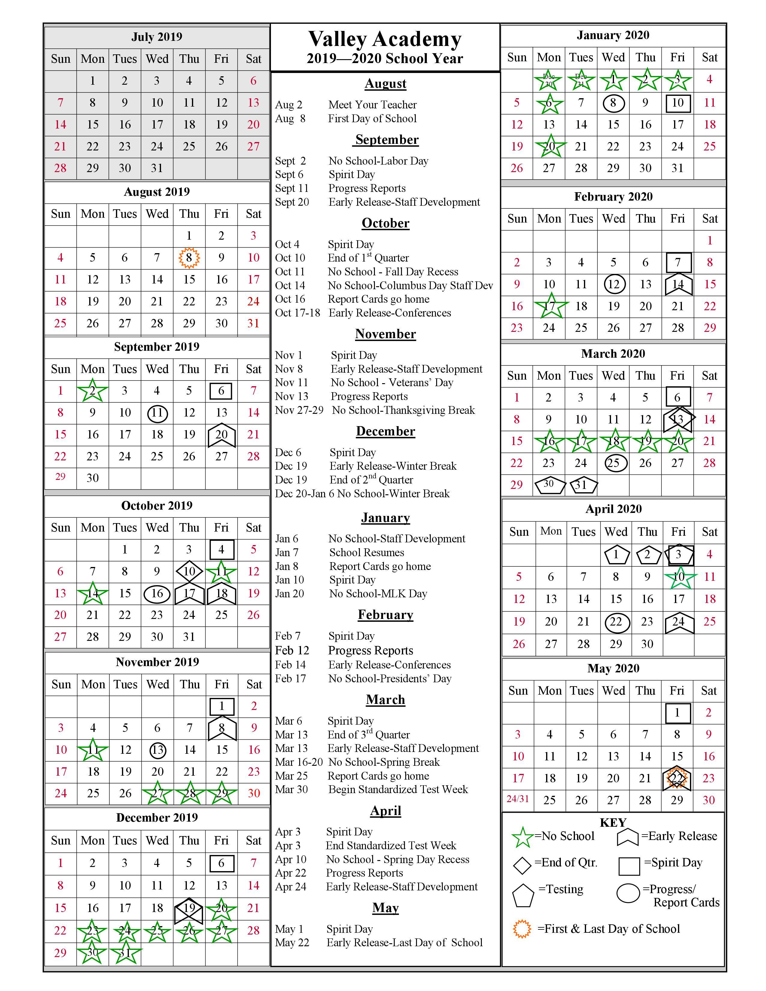 School Year Calendar 2019-2020 | Valley Academy pertaining to Gcu Academic Calendar 2021 20