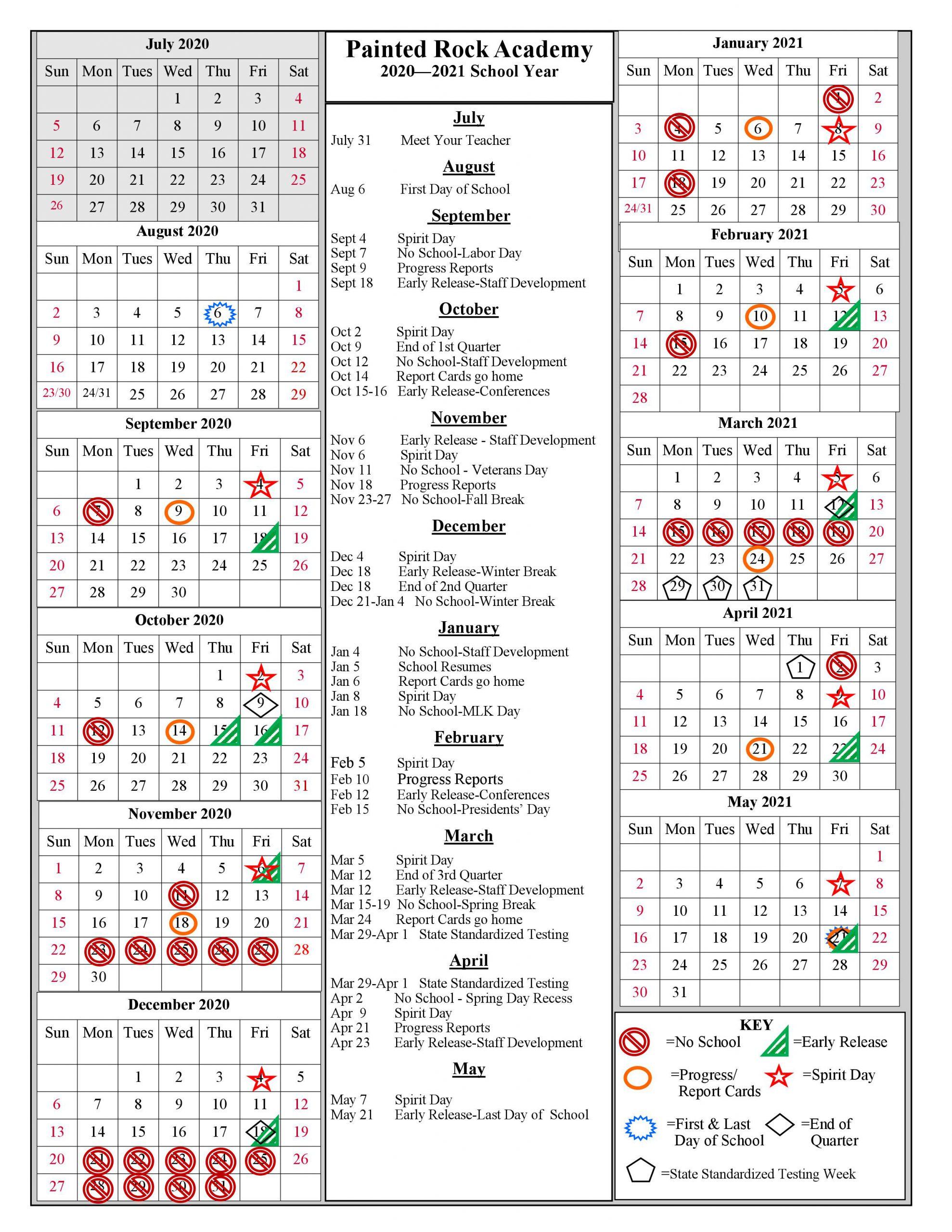 School Year Calendar 2020 2021   Painted Rock Academy With Gcu Academic Calendar 2021 20