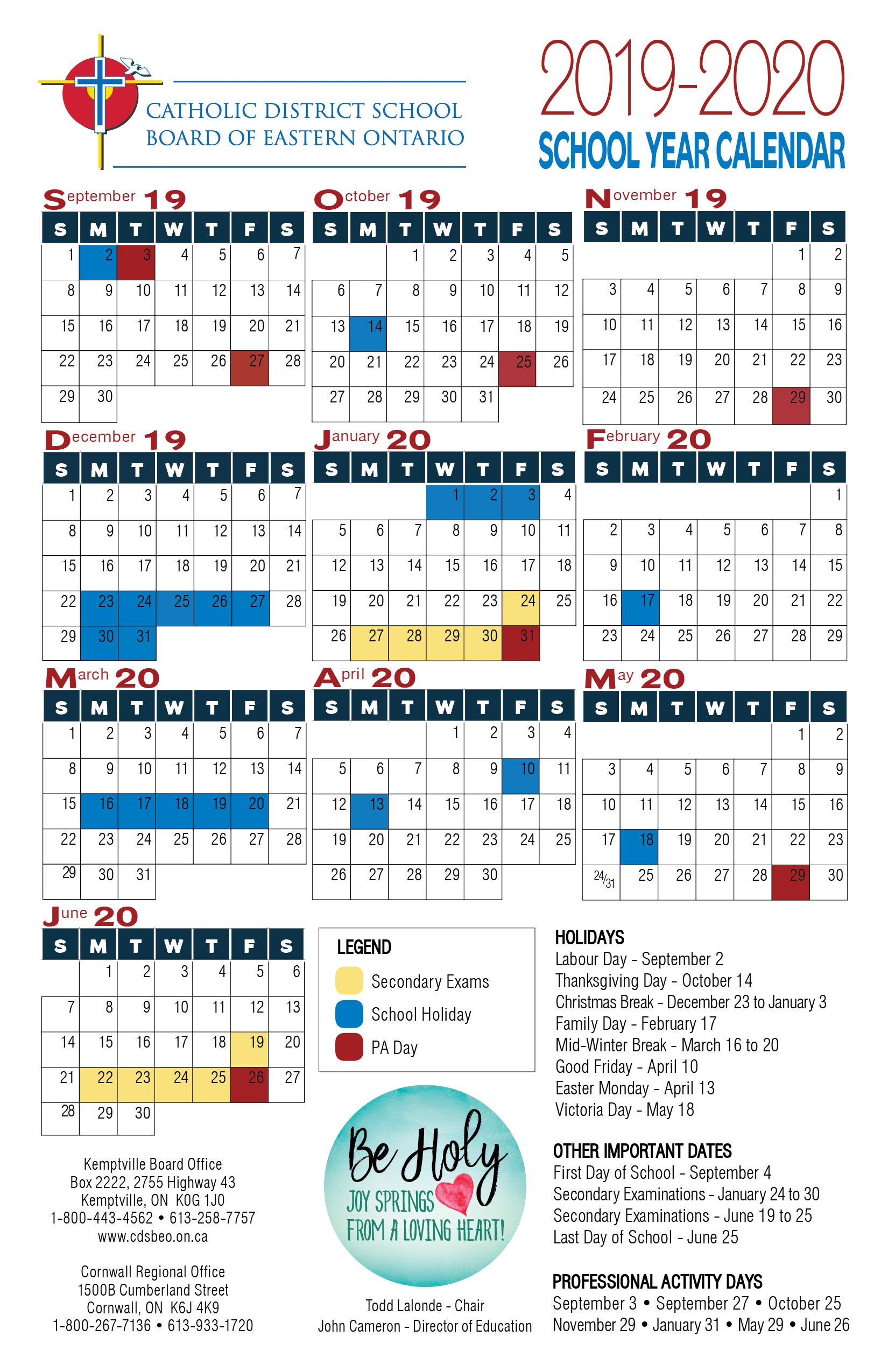 School Year Calendar | Catholic District School Board Of For East Orange H S Calendar