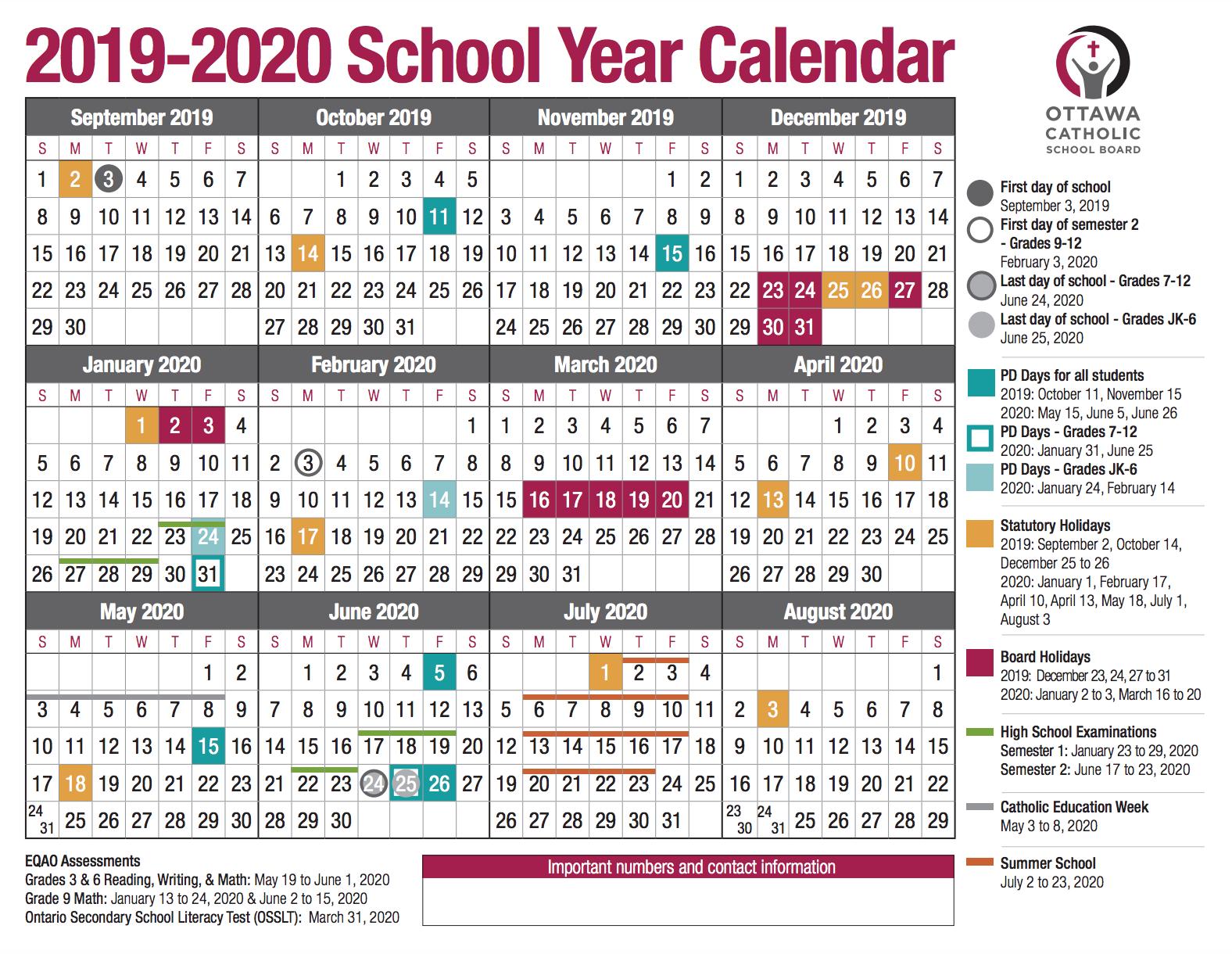 School Year Calendar From The Ocsb With West Ottawa School Calendar