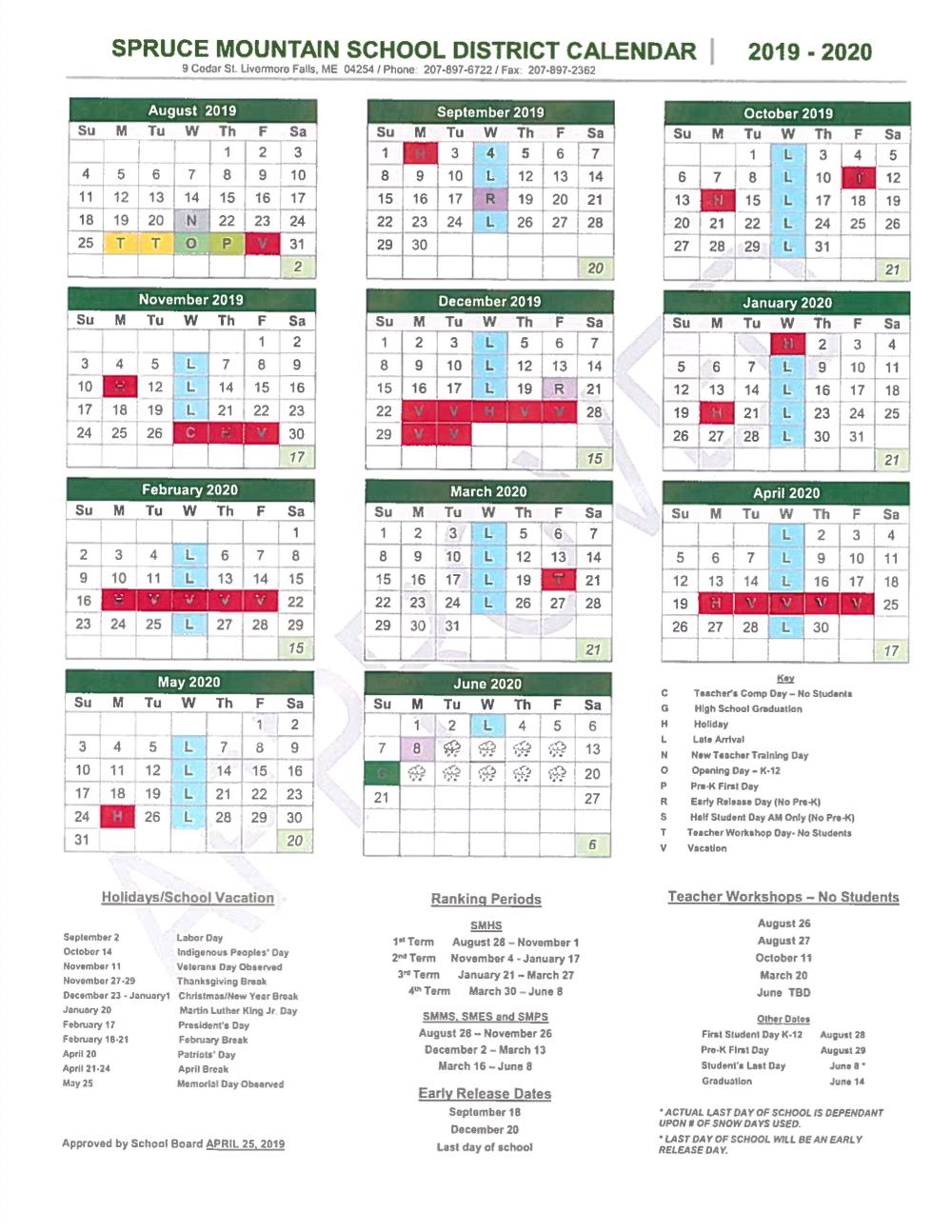 School Year Calendar - Spruce Mountain School District regarding Livermore School District Calander