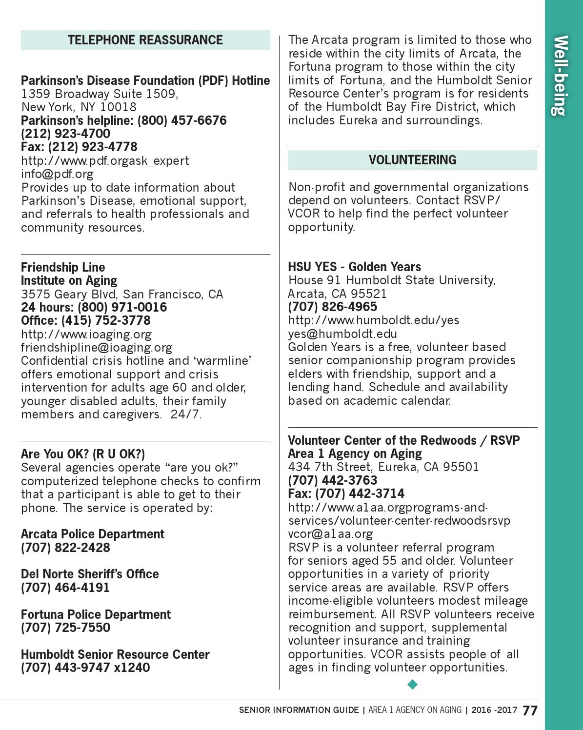 Senior Information Guide 2016 2017Area 1 Agency On Aging Within Academic Calendar Humboldt State University
