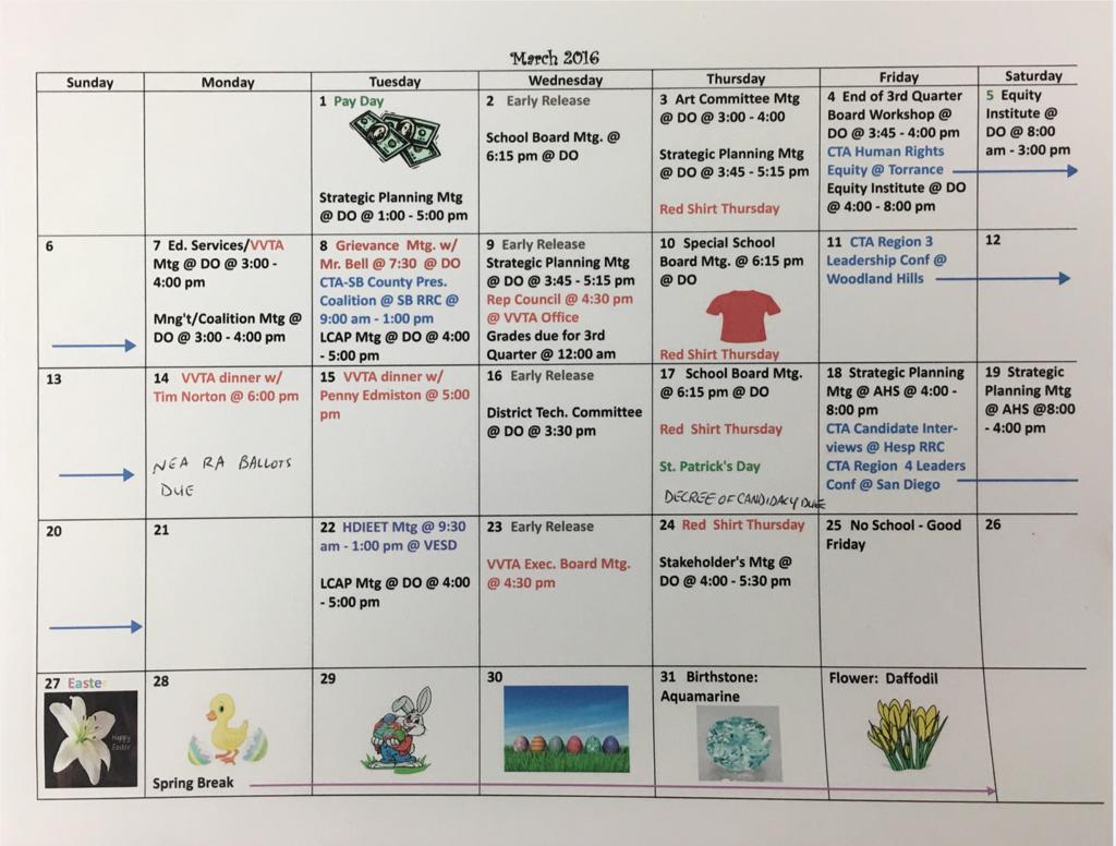 Sept 2016 Vvta Calendar - Victor Valley Teachers' Association In 2021  2020 Hesperia School District Calendar