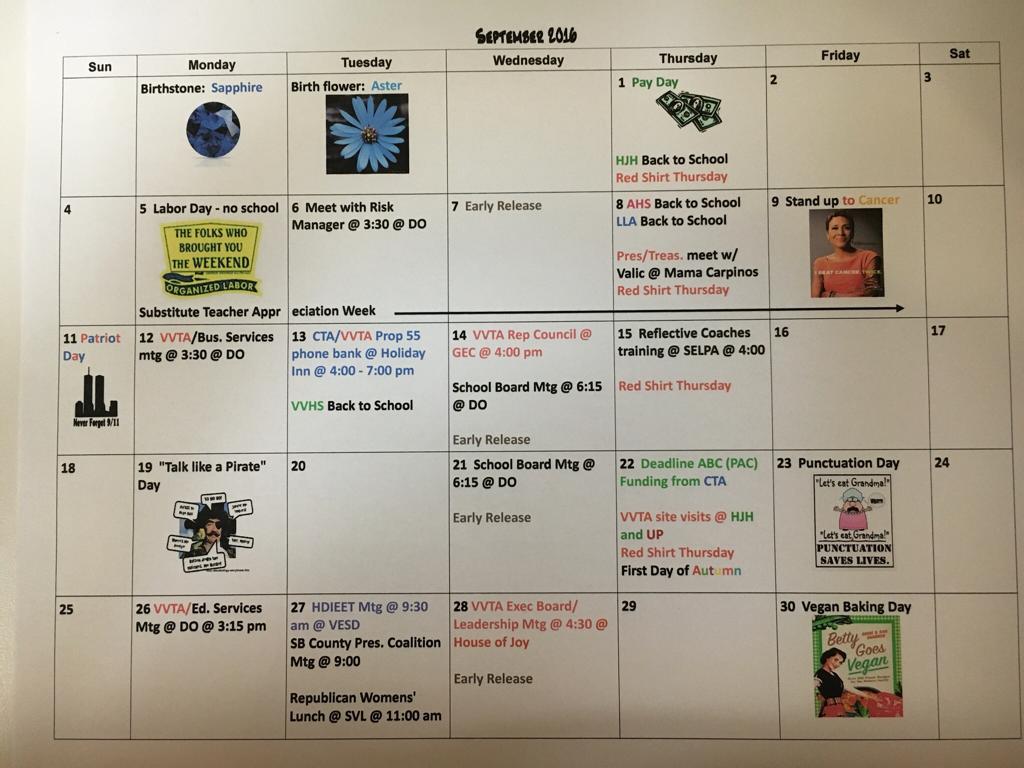 Sept 2016 Vvta Calendar - Victor Valley Teachers' Association Within 2021  2020 Hesperia School District Calendar