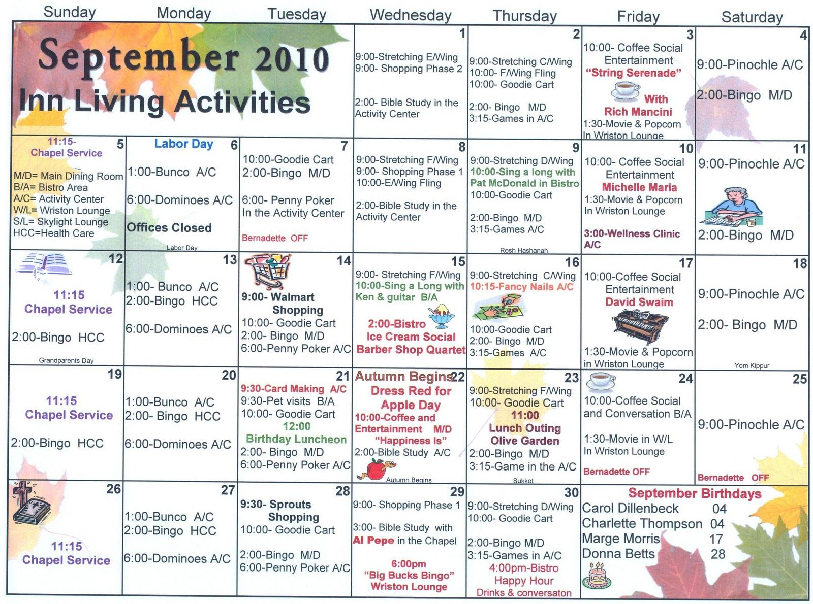 September Assisted Living Activities (With Images For Asiisted Living Home Monthly Cactivity Calendar