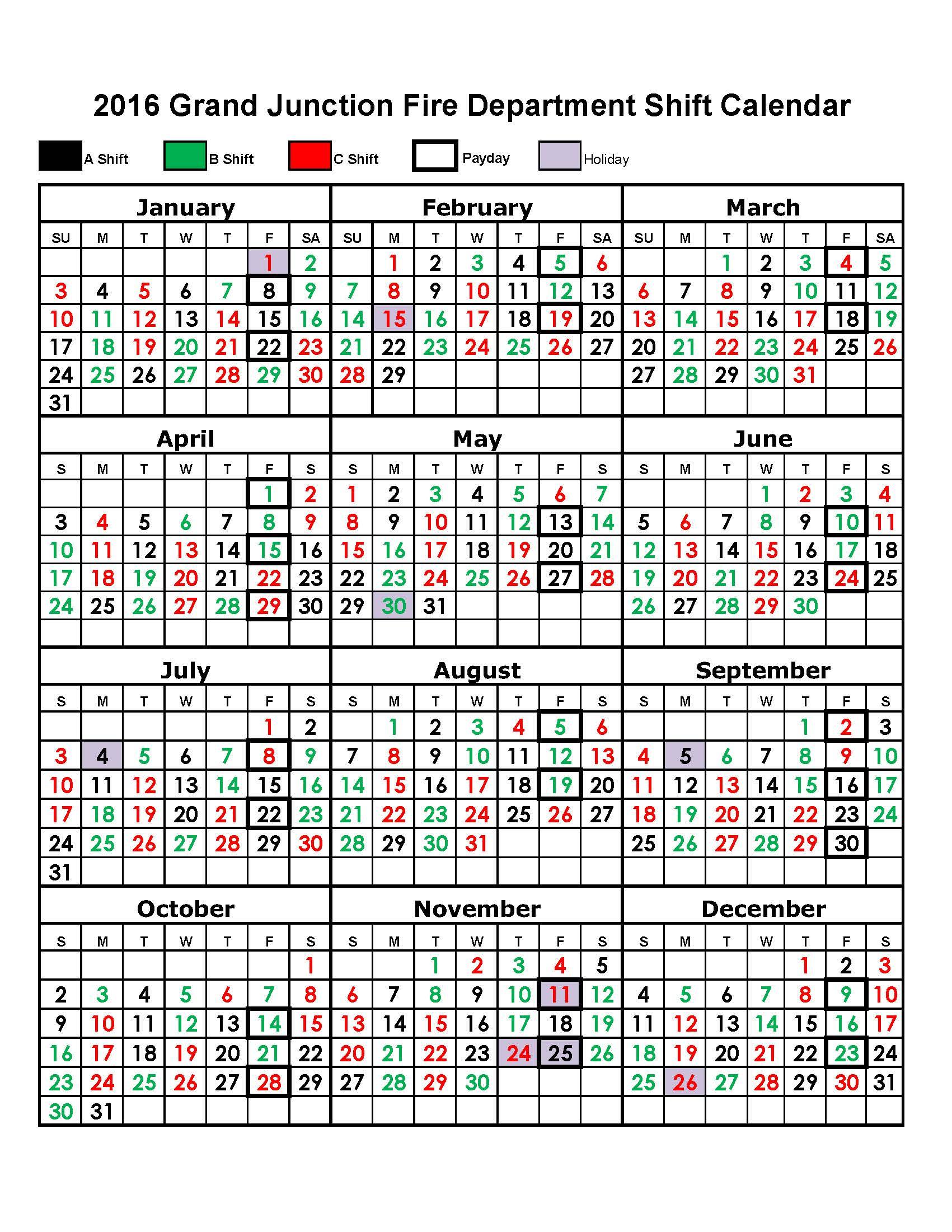 Shift Calendar – Grand Junction Fire Department News For Houston Fire Department Shift Calendar