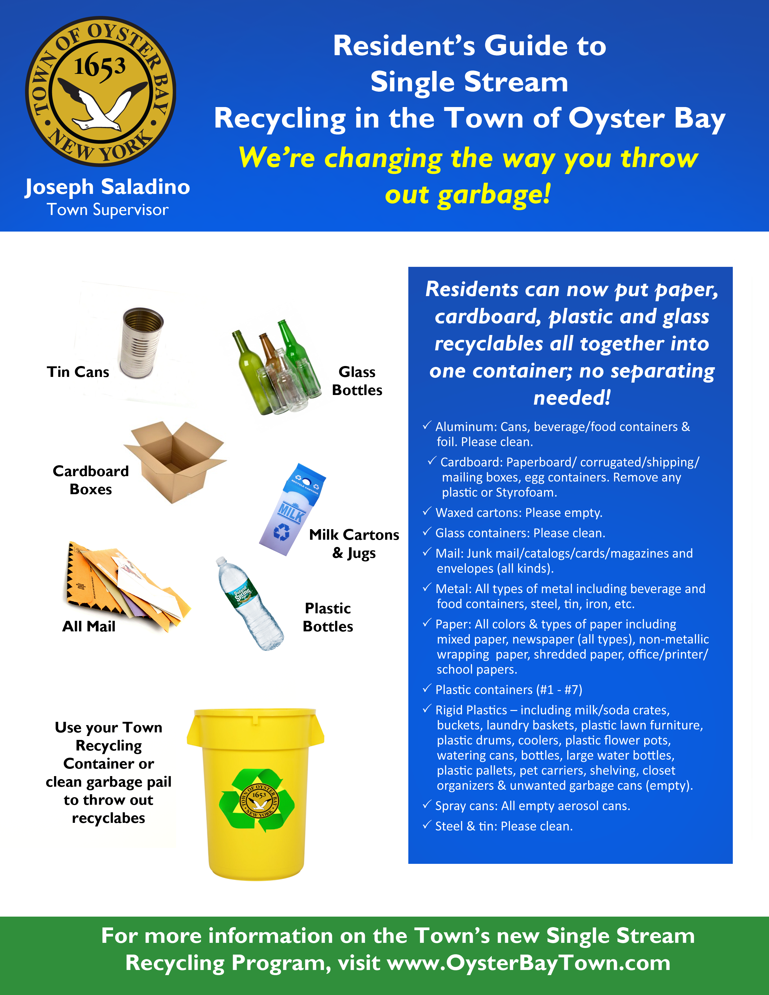 Single Stream Recycling Initiative Gets Underway October 23 Regarding Town Oyster Bay Sanitation Calendar