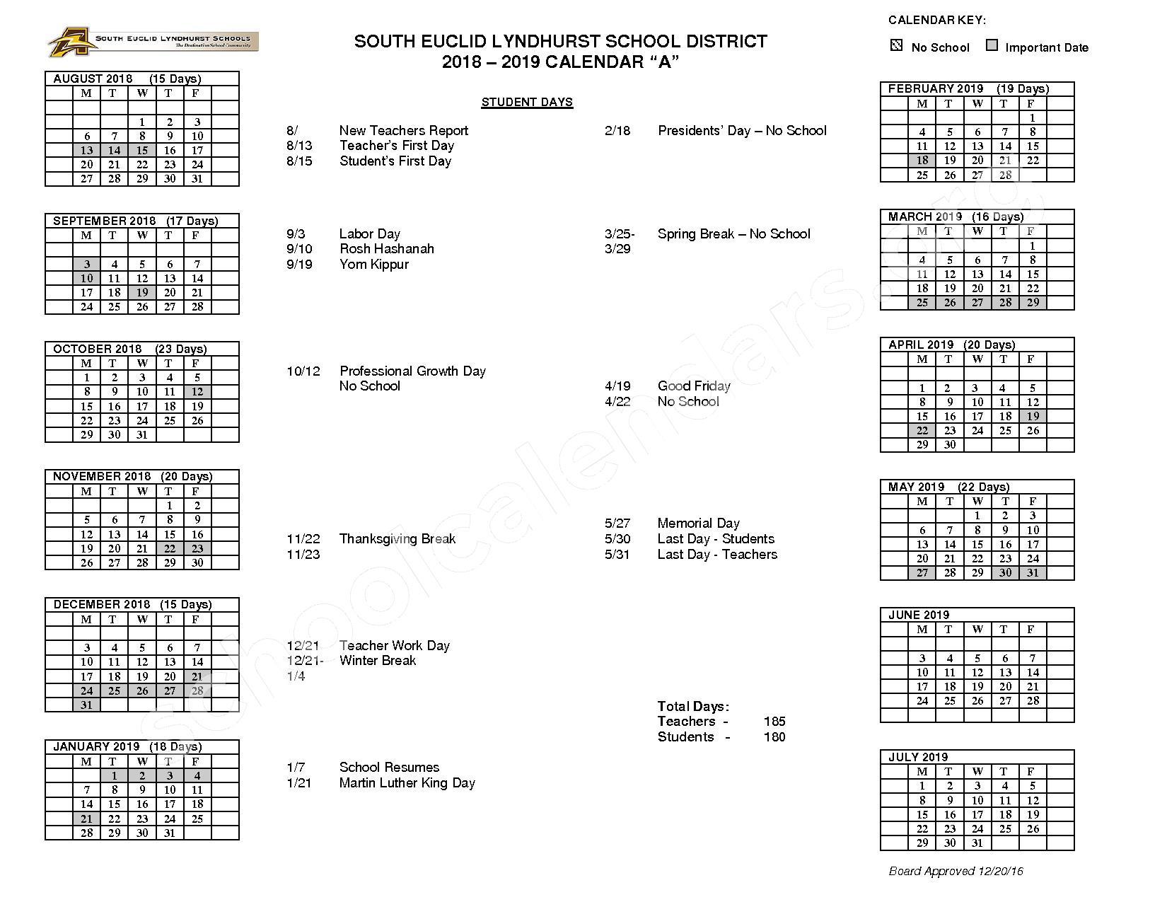 South Euclid-Lyndhurst Schools Calendars – Lyndhurst, Oh throughout South Euclid Lyndhurst Calendar