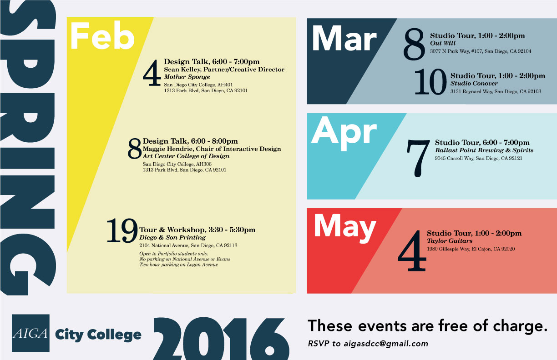 Spring 2016 Aiga City College Calendar - Sdcc Graphic Design Pertaining To San Diego City College Caendar
