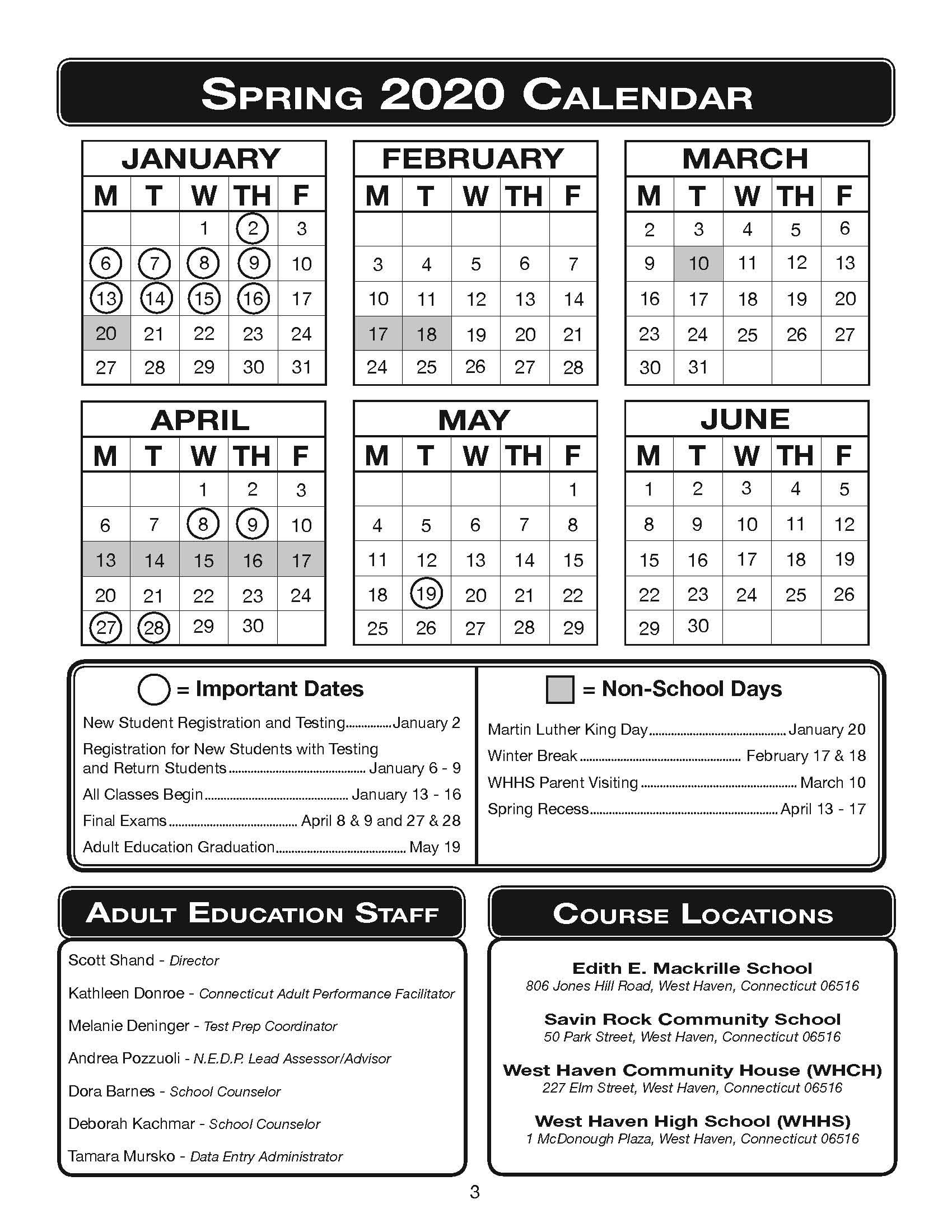 Spring 2020 Calendar – West Haven Board Of Education With East Meadow High School Calandar 2012