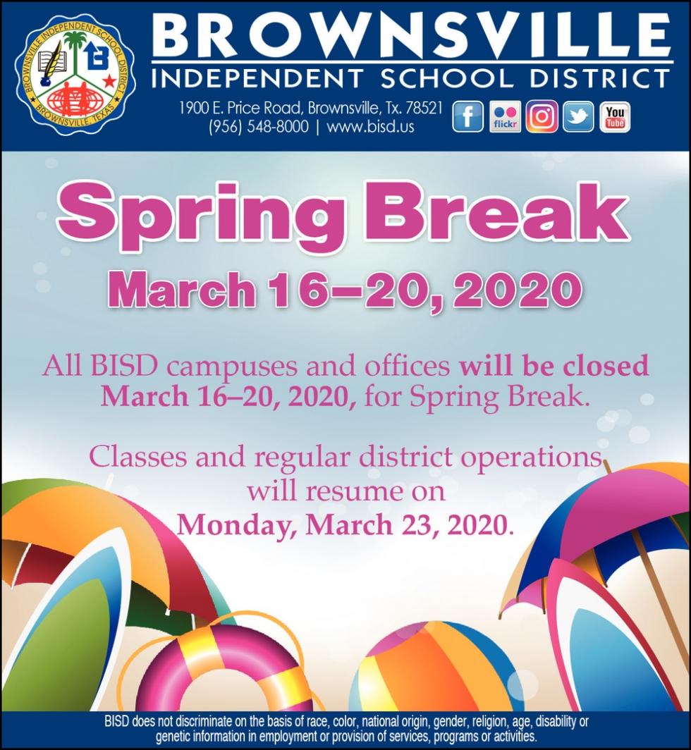 Spring Break, Brownsville Independent School District Pertaining To Brownsville Texas Bisd Calendar 2021 2020