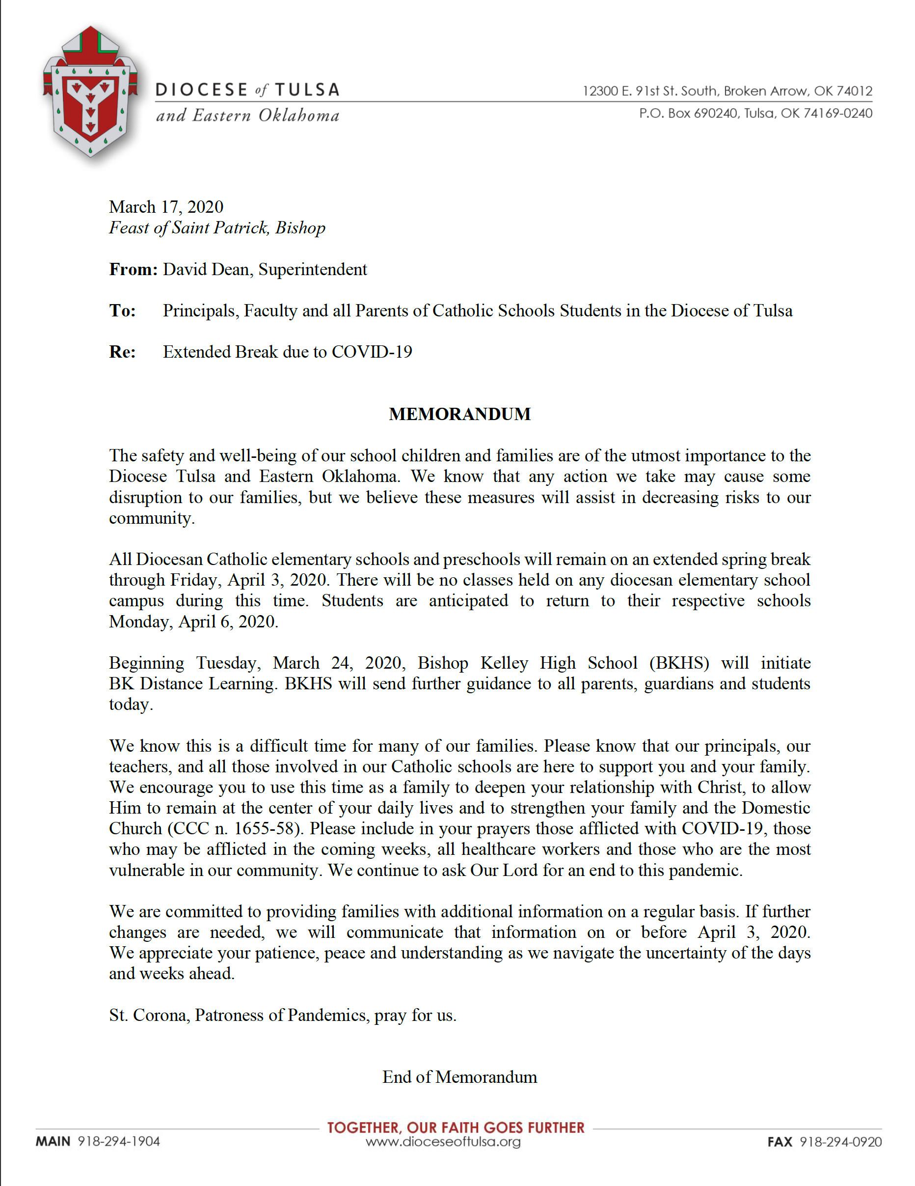 Spring Break Extended Through April 6 – School Of Saint Mary Within Broken Arrow High School Spring Break
